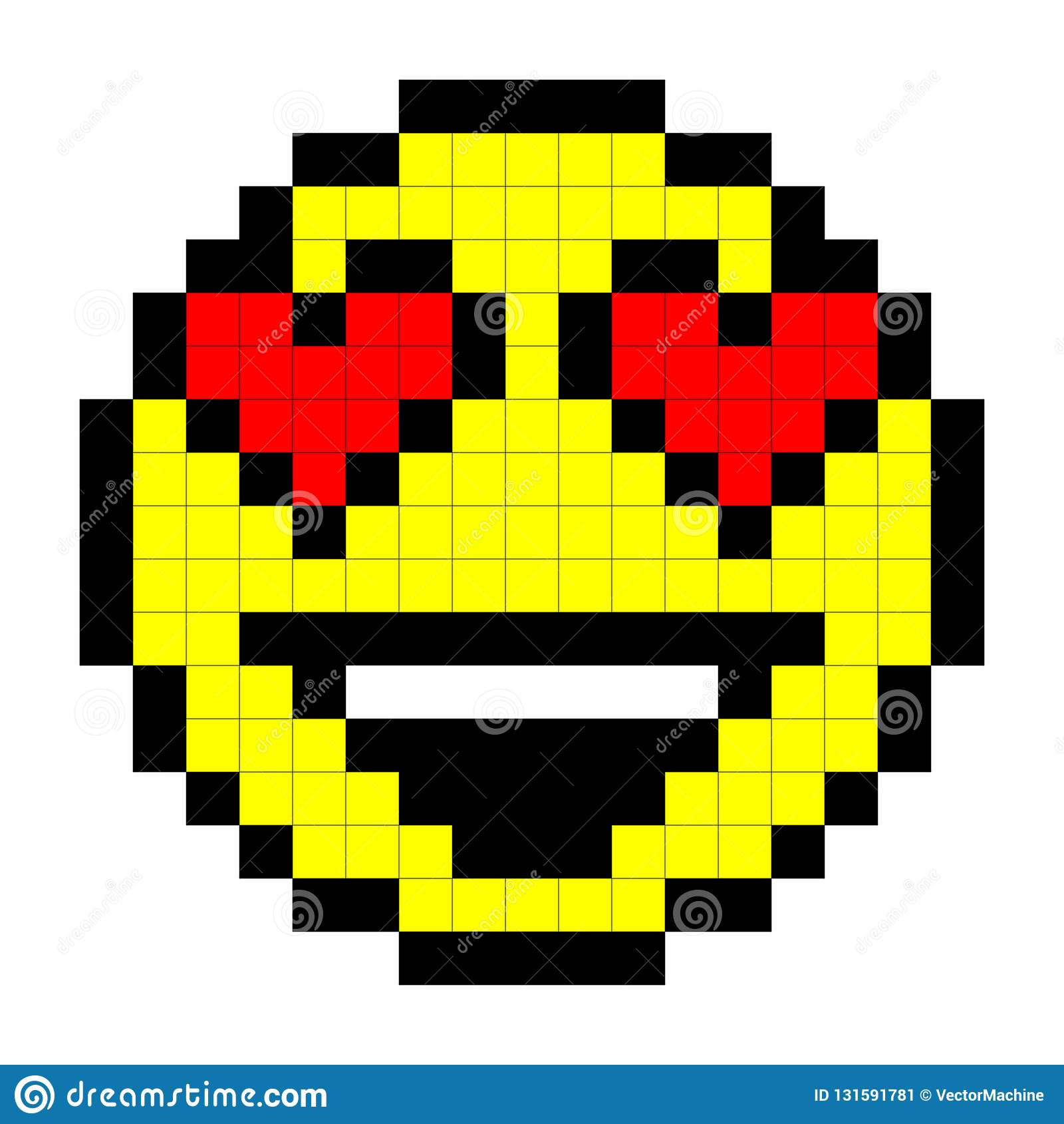 Smiley Pixel Art Style On White Background Vector Stock Vector Illustration Of Icon Face 131591781