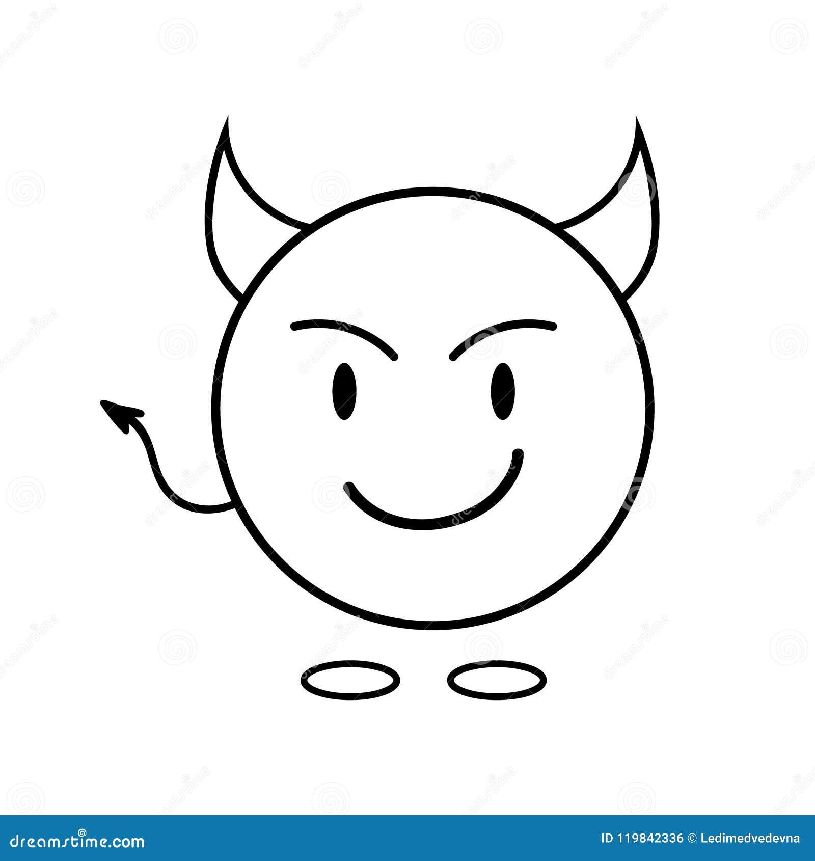 Smiley Simple En Tant Que Diable Icône Linéaire Dessins De