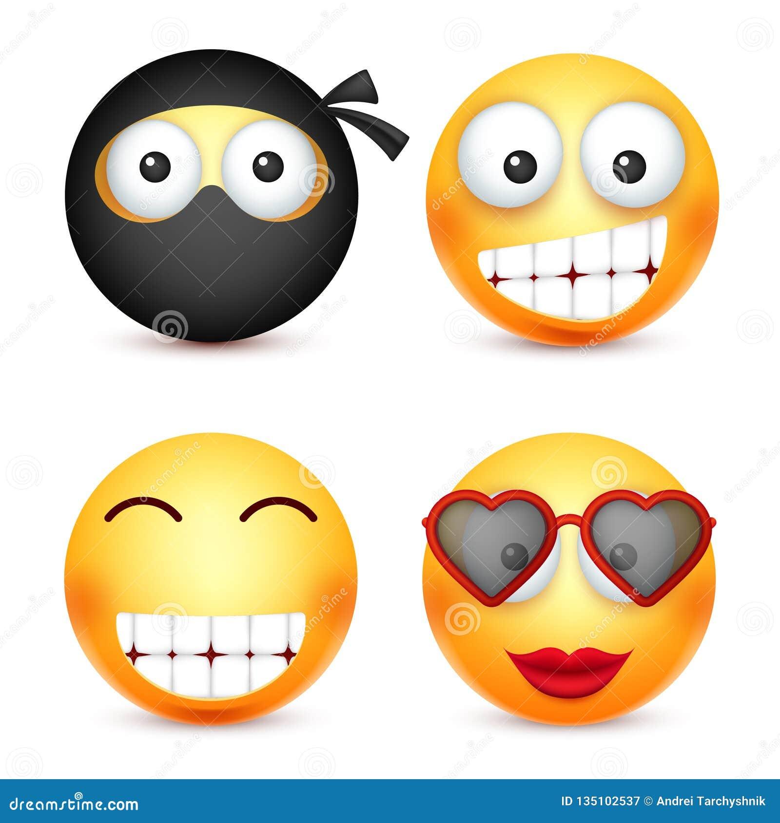 Smiley Sistema Del Emoticon Cara Amarilla Con Emociones Humor