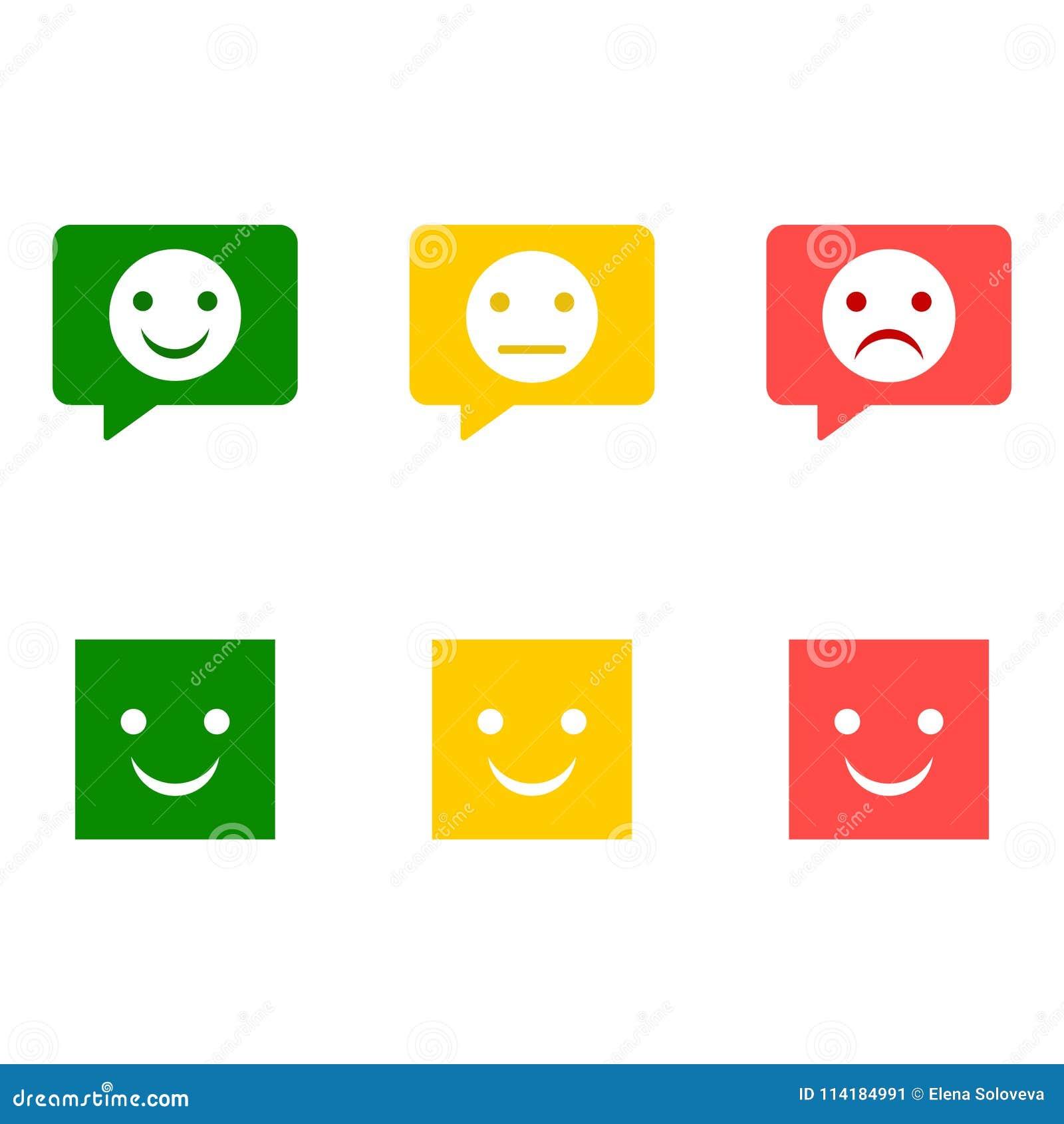 Smiley Sistema Del Emoticon Caras Tristes Felices Enojadas