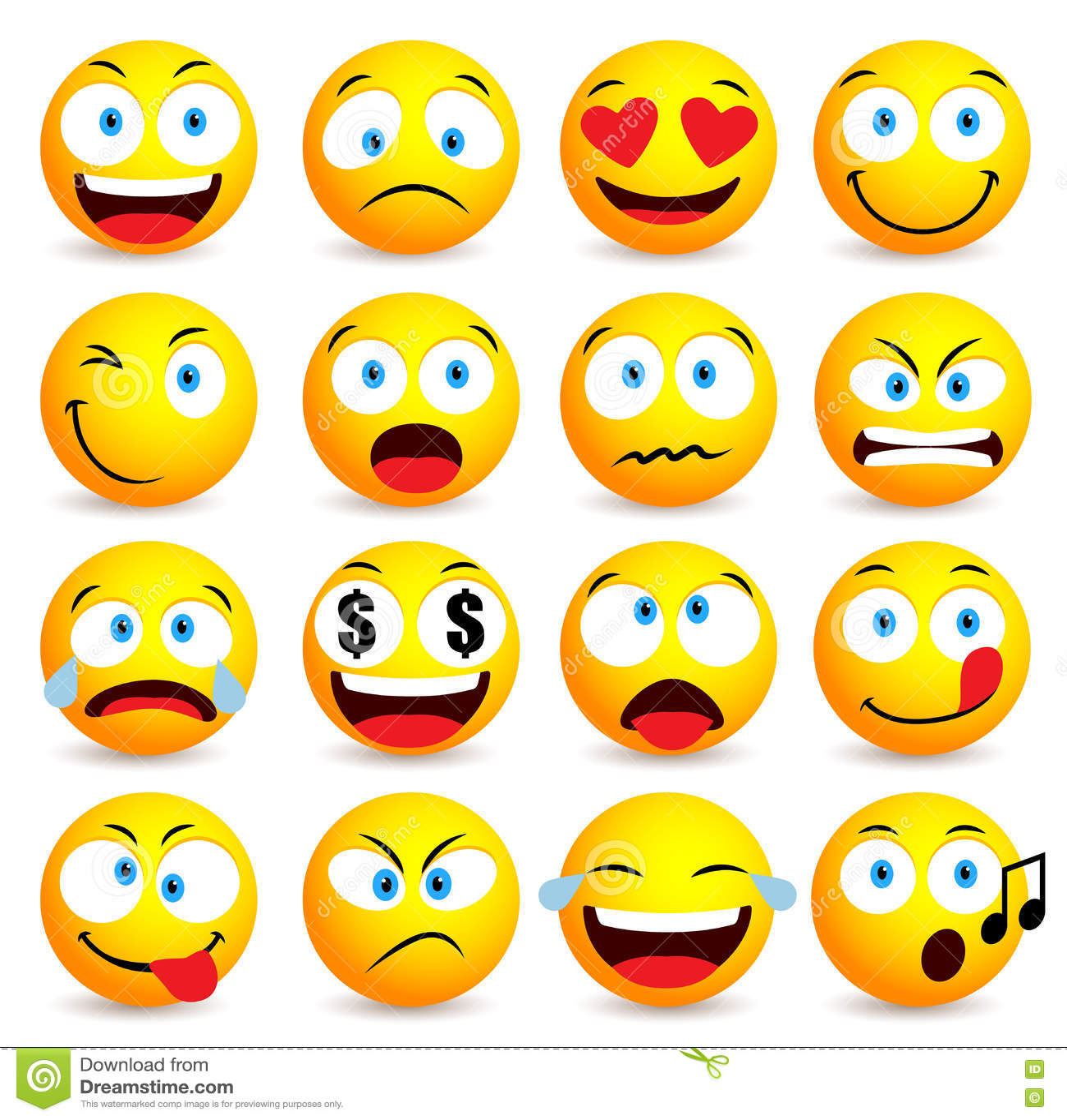 Smiley twarz i emoticon prosty set z wyrazami twarzy