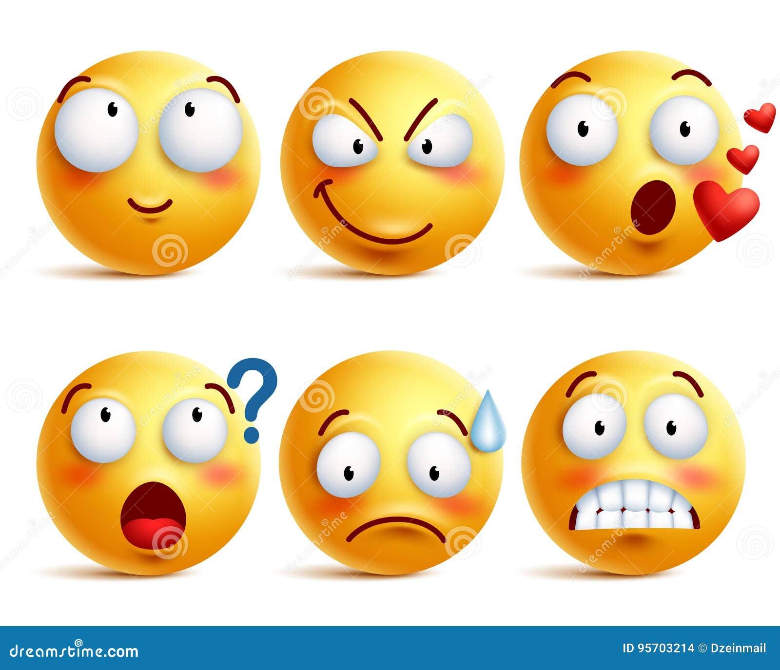 Smiley vector Satz Gelbes smiley Gesicht oder Emoticons mit Gesichtsausdrücken