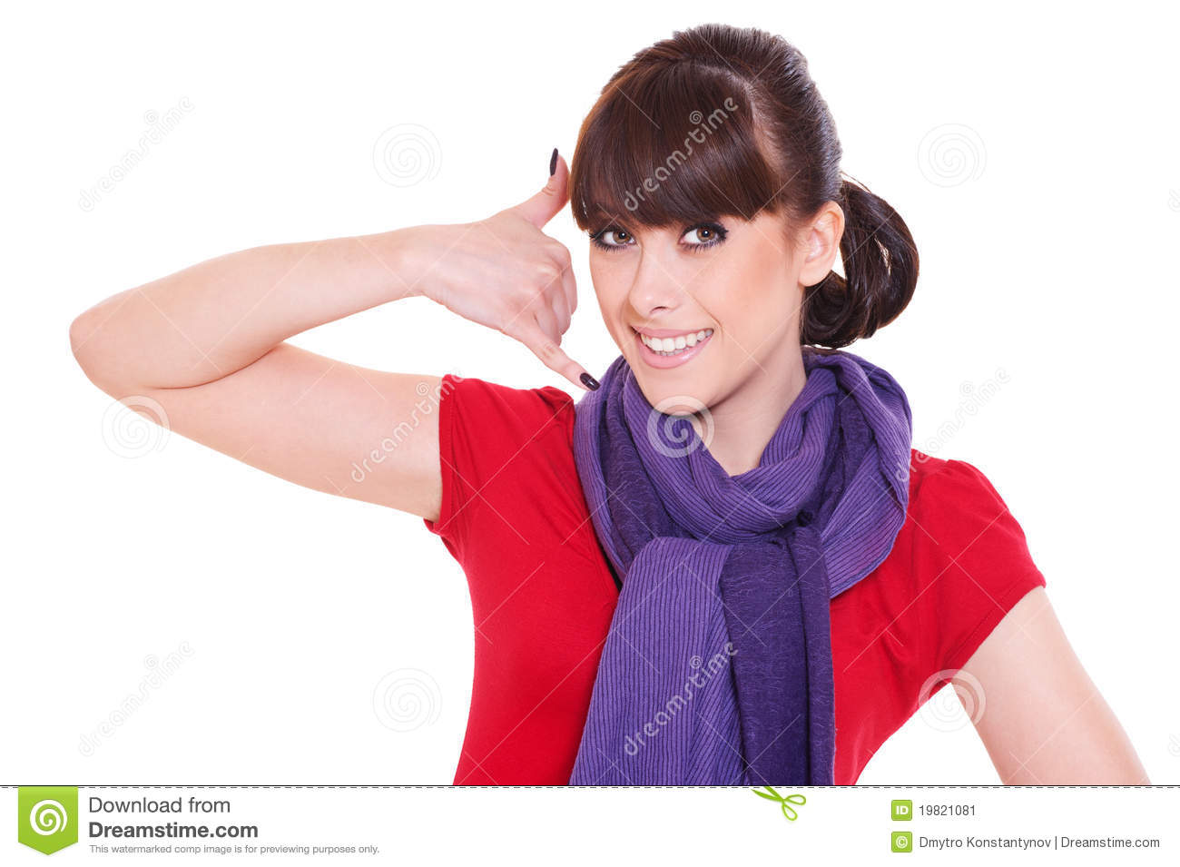 Smiley Woman Making Call Me Gesture Stock Image - Image ...