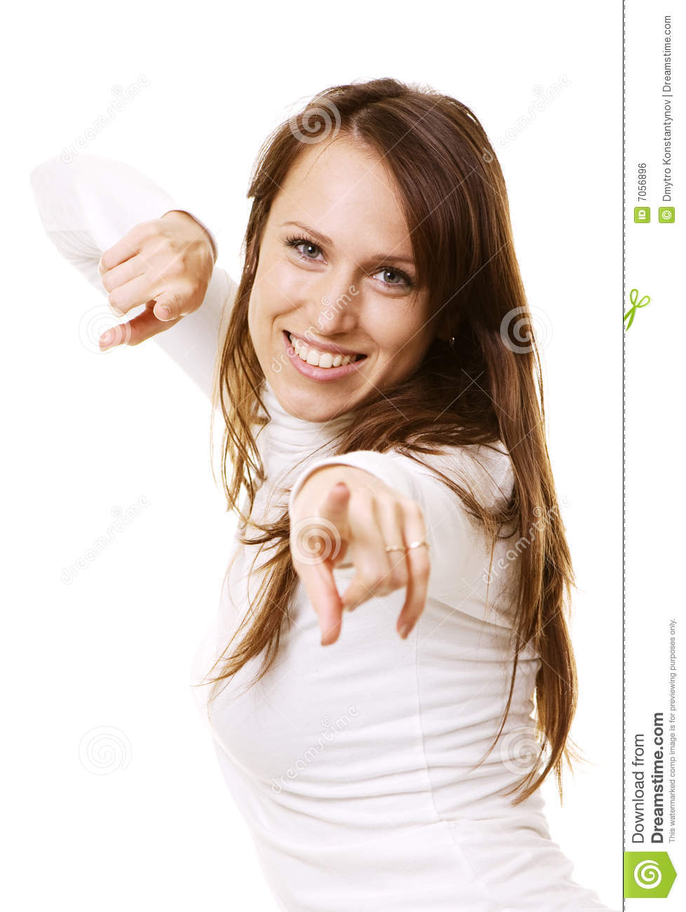 Smiley woman pointing