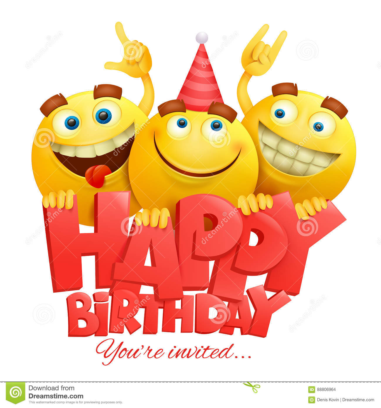 Smiley Yellow Faces Emoji Characters Happy Birthday Card Stock