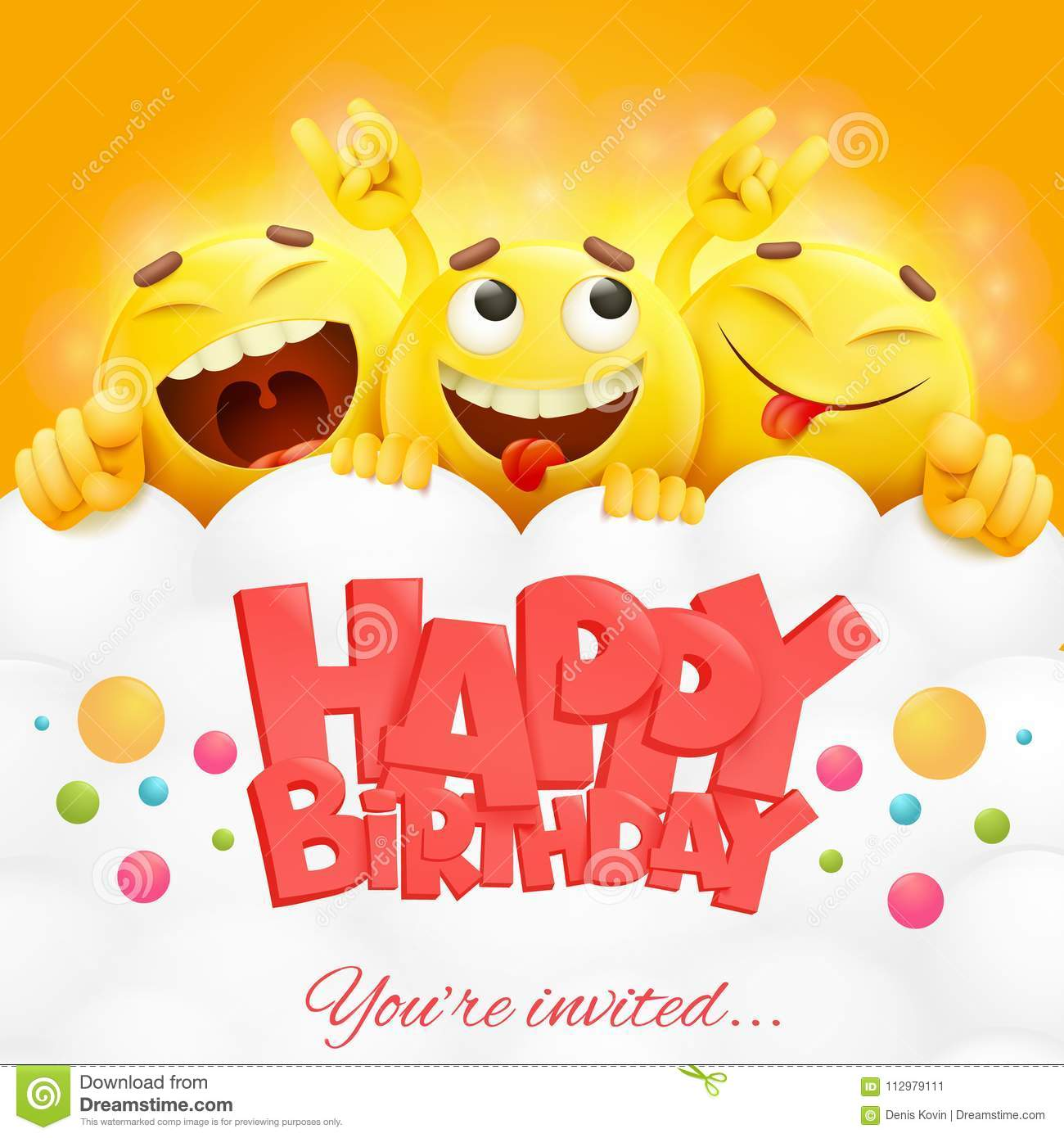 Smiley Yellow Faces Emoji Characters Happy Birthday Card