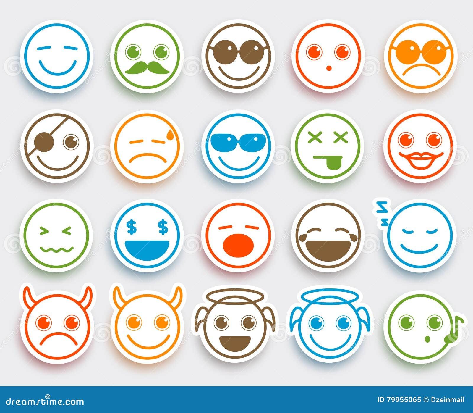 Smileygesichts-Vektor Emoticons stellten in weißen flachen Ikonenaufkleber ein