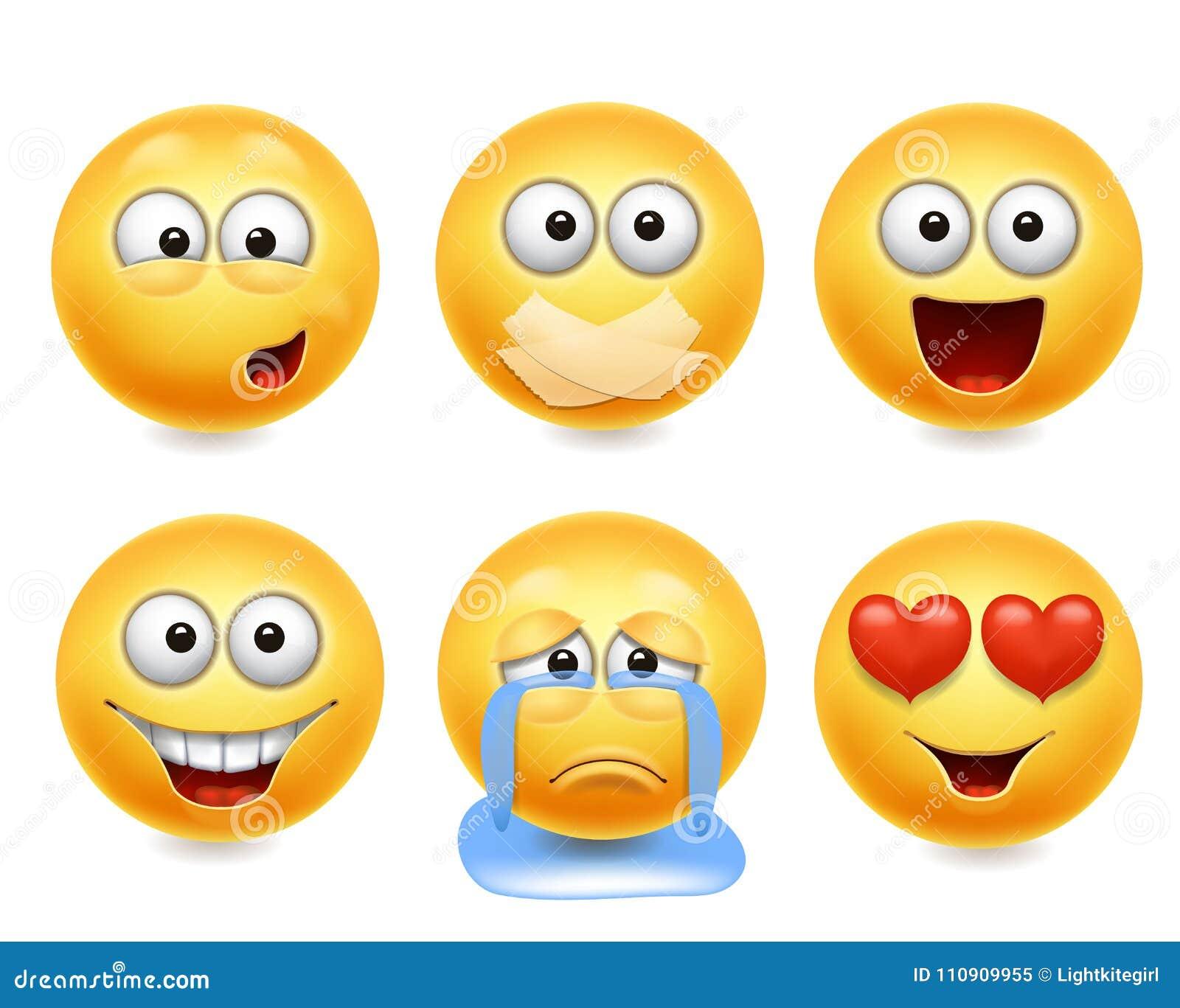 Smileygesichtsikonen Lustiger realistischer Satz der Gesichter 3d Nette gelbe Gesichtsausdrucksammlung 2