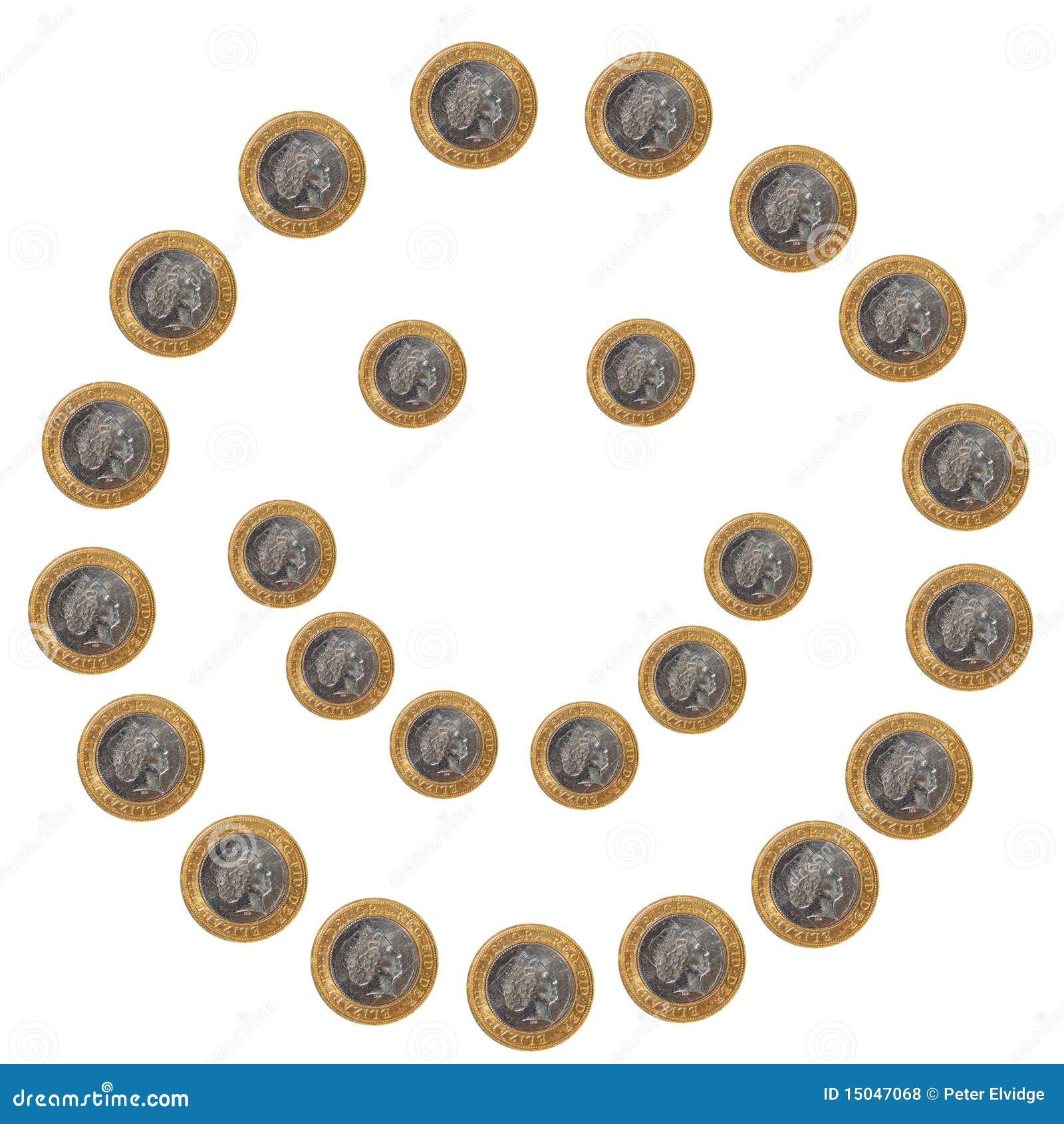 Smileygezicht van muntstukken op wit