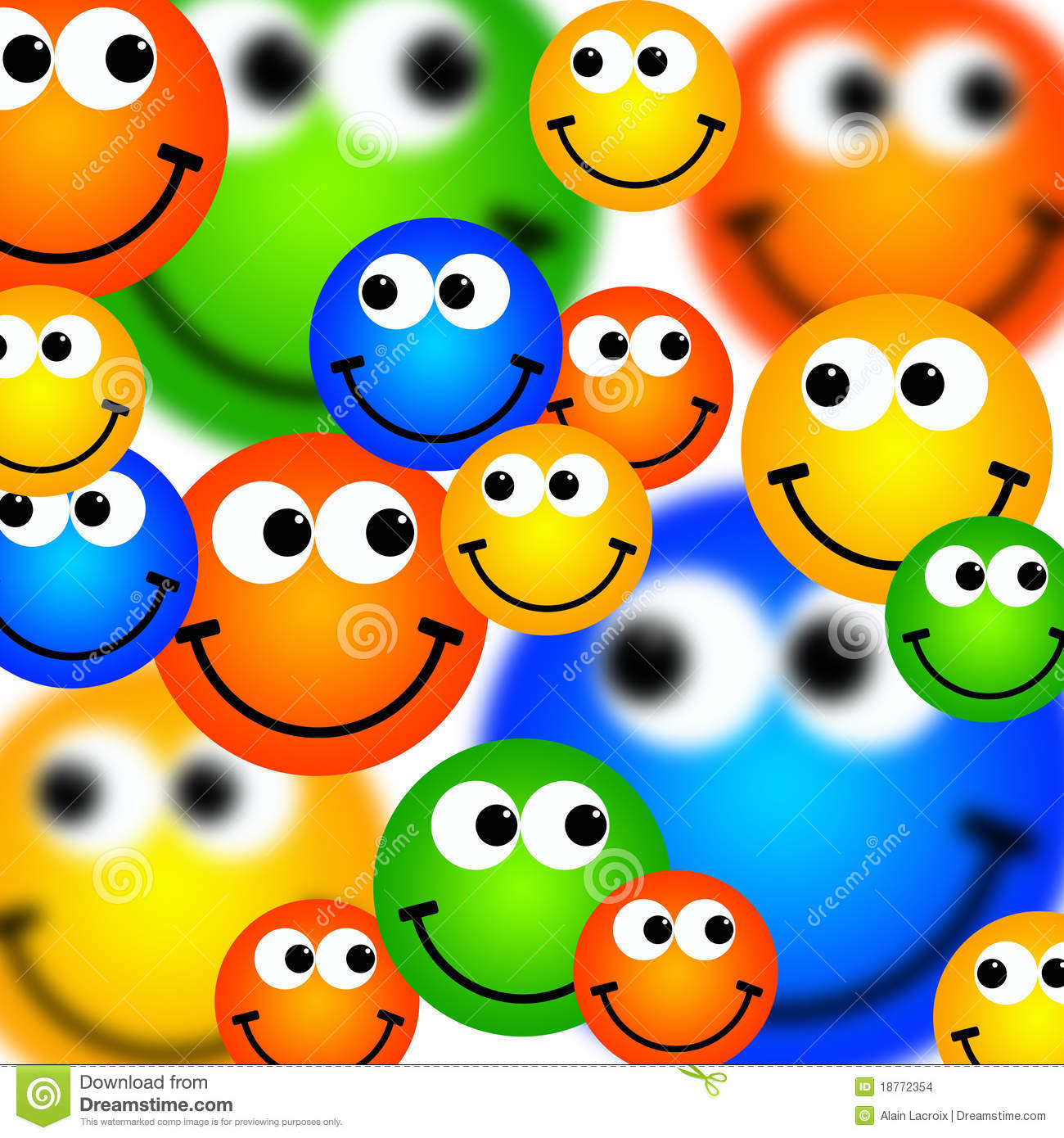 Background with lots of happy and colorful smileys