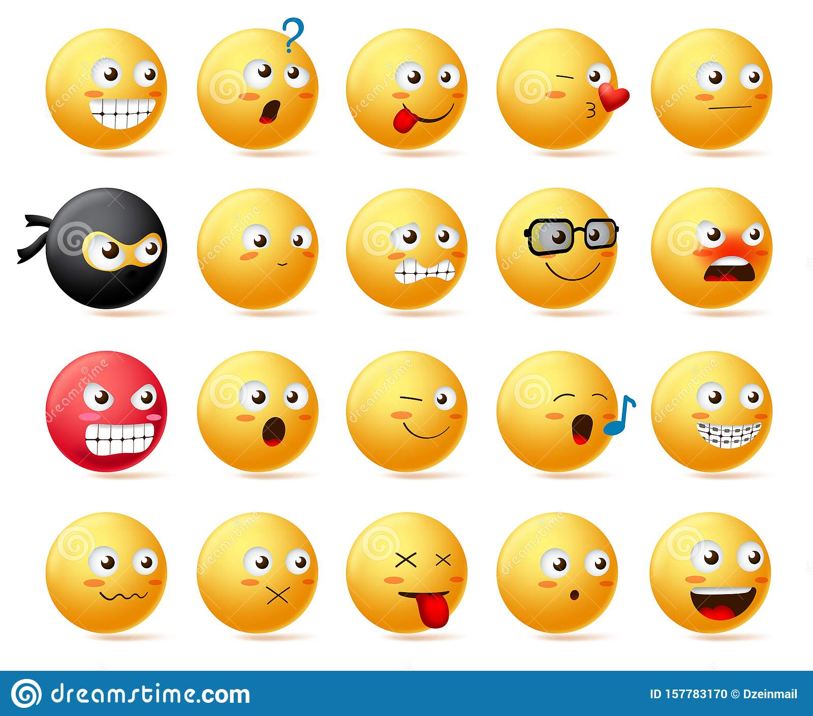 smileys emoji faces vector character set. smiley emoticon with yellow face  in side view. stock vector - illustration of emotion, background: 157783170  dreamstime.com