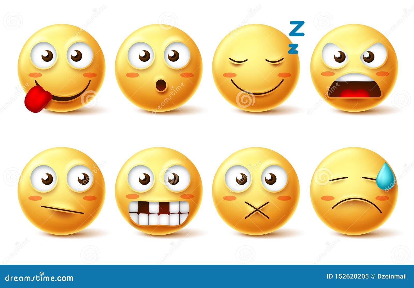 Smileysvector met grappige gelaatsuitdrukkingen wordt geplaatst die Lachebekje leuke emoticons met slaperig, tandenloos, boos en