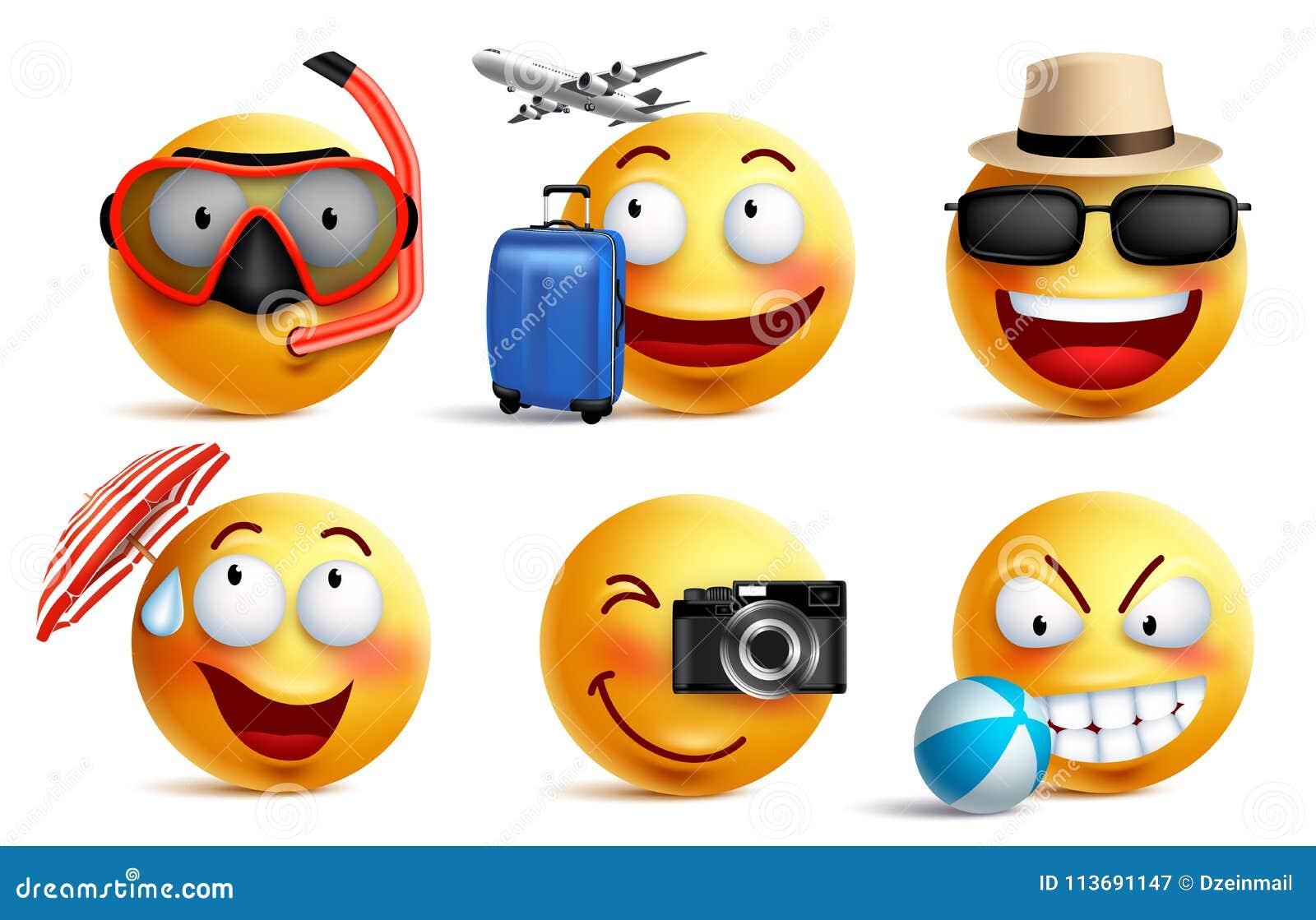 Smileysvektoruppsättning med sommar- och loppdräkter Smileyframsidaemoticons