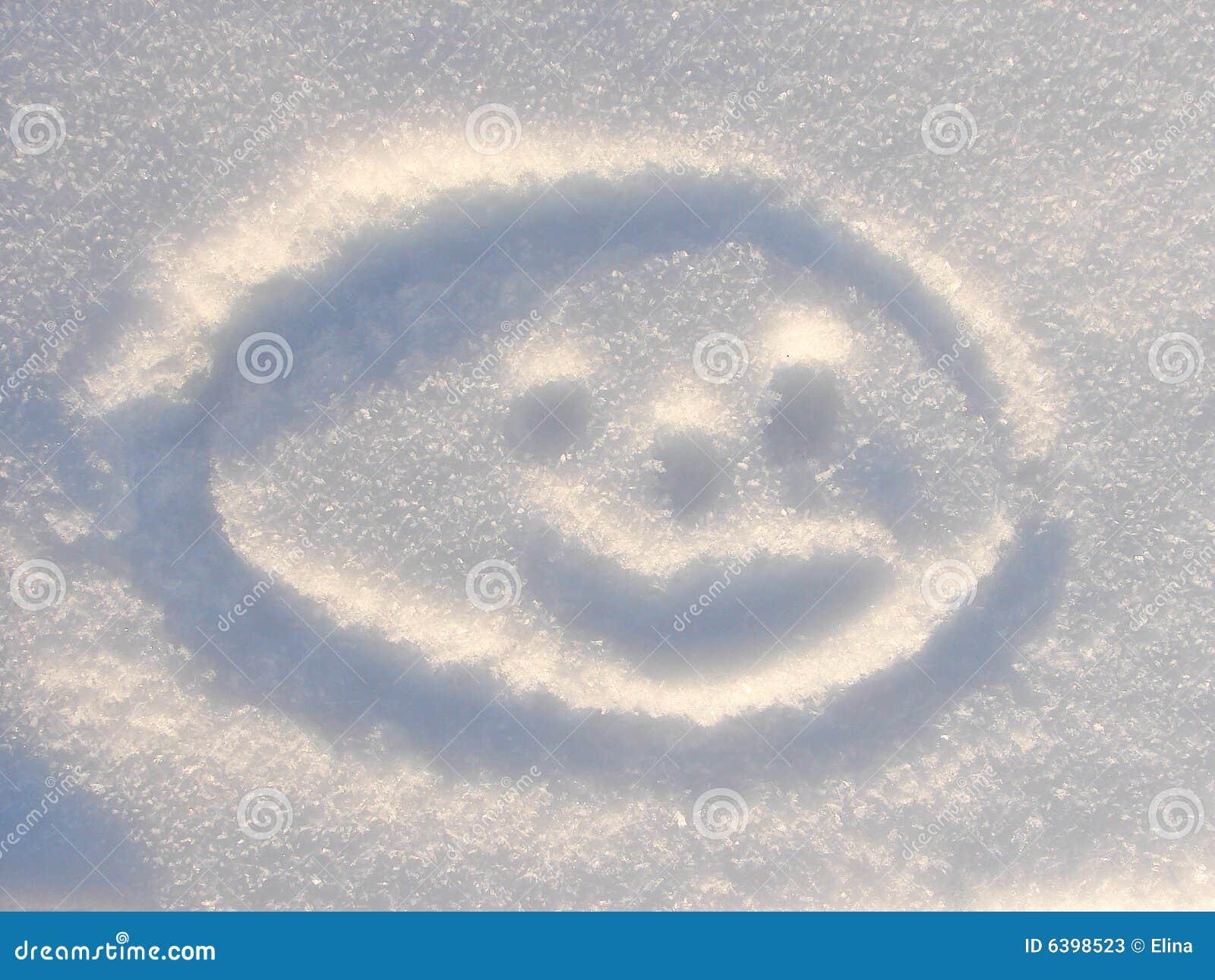 Smilie sulla priorità bassa della neve
