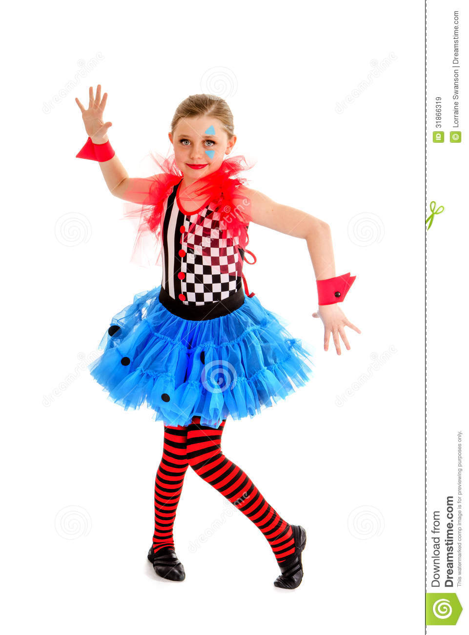 Preteen Girl Circus Performer as a Jester in A Crooked Abstract Stance ...