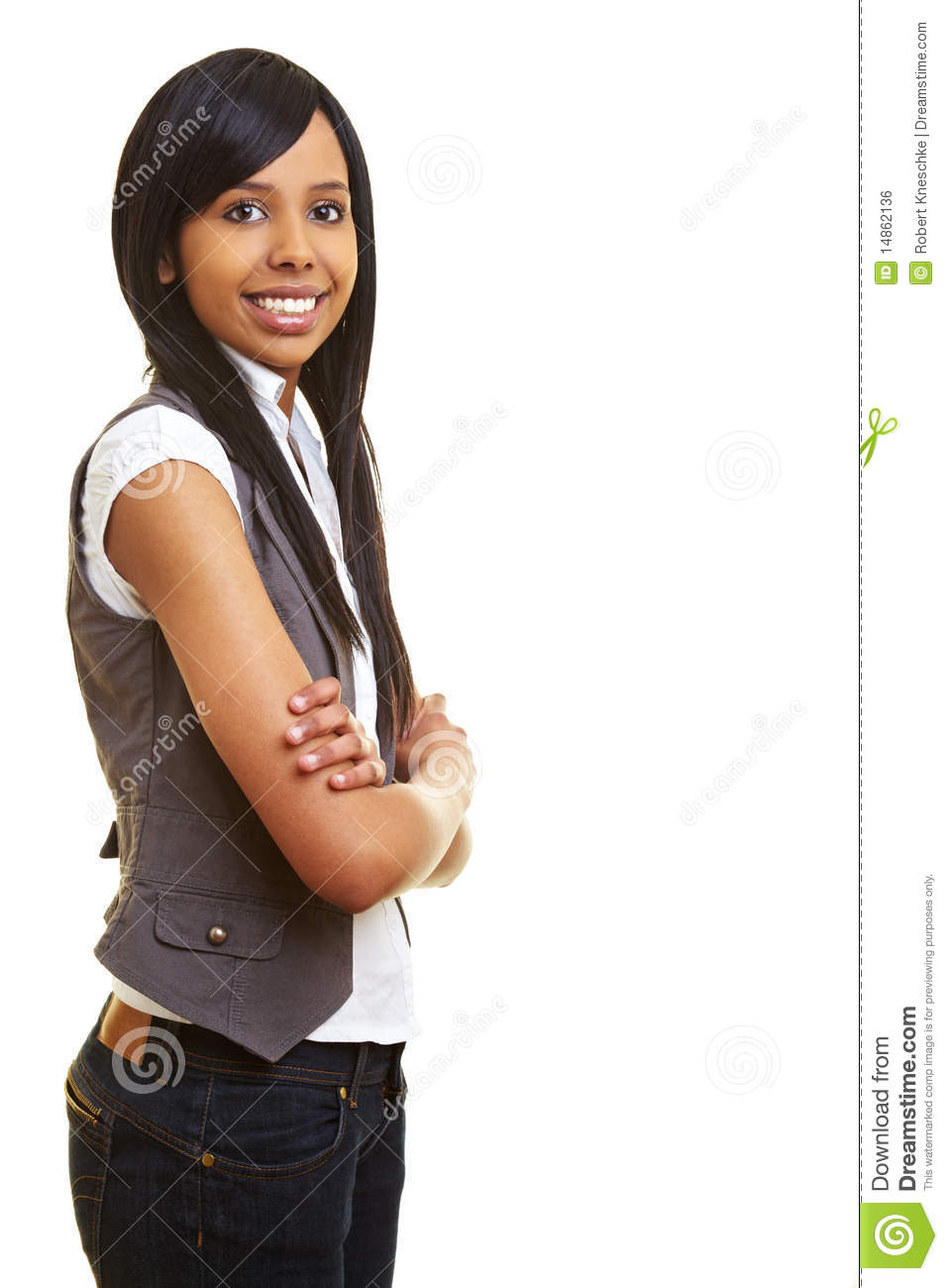 Smiling african teen with arms