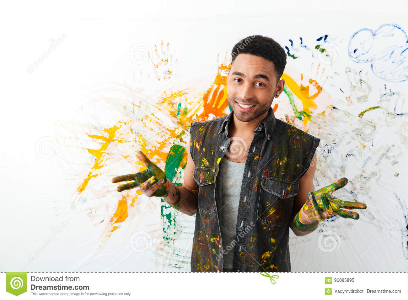 Download Smiling African Young Man Dirty With Paints Painting By Hands Stock Image - Image of artistic, drawing: 96085895