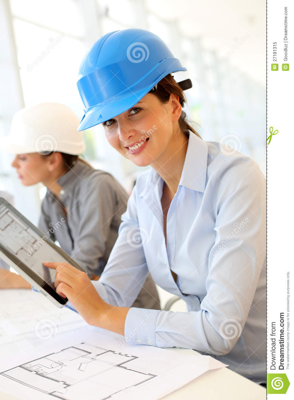 Smiling architect at work stock image. Image of table ...