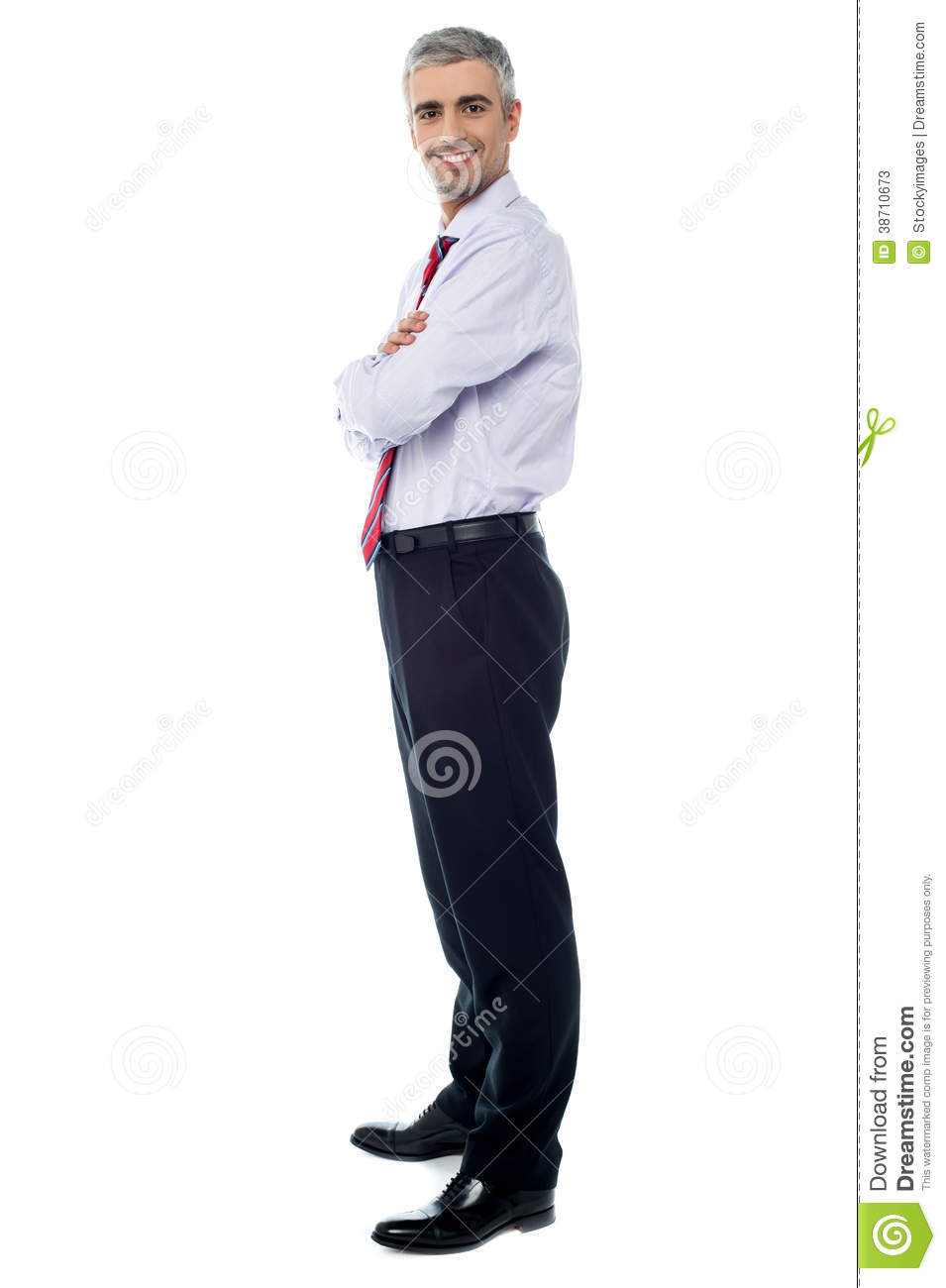 Smiling arms crossed senior businessman