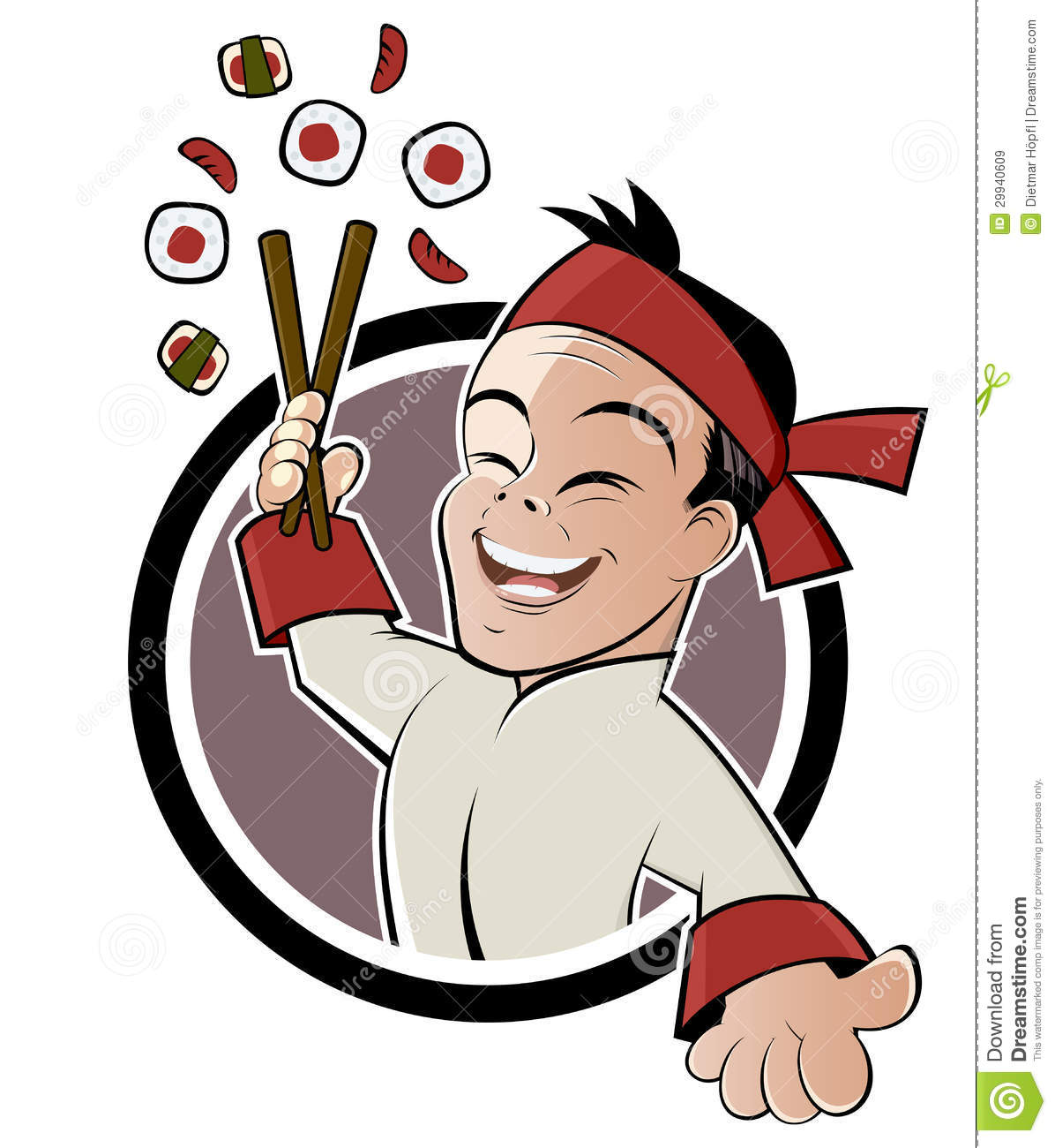 Cartoon Sushi Man Stock Vector Image Of Chef Holds