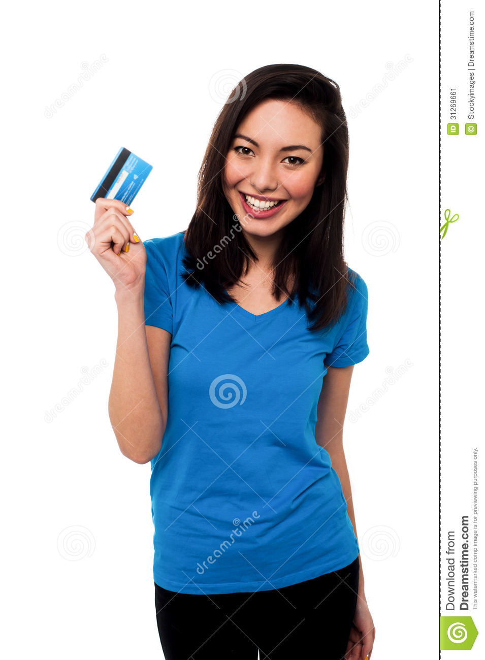 smiling asian girl showing cash card stock image   image
