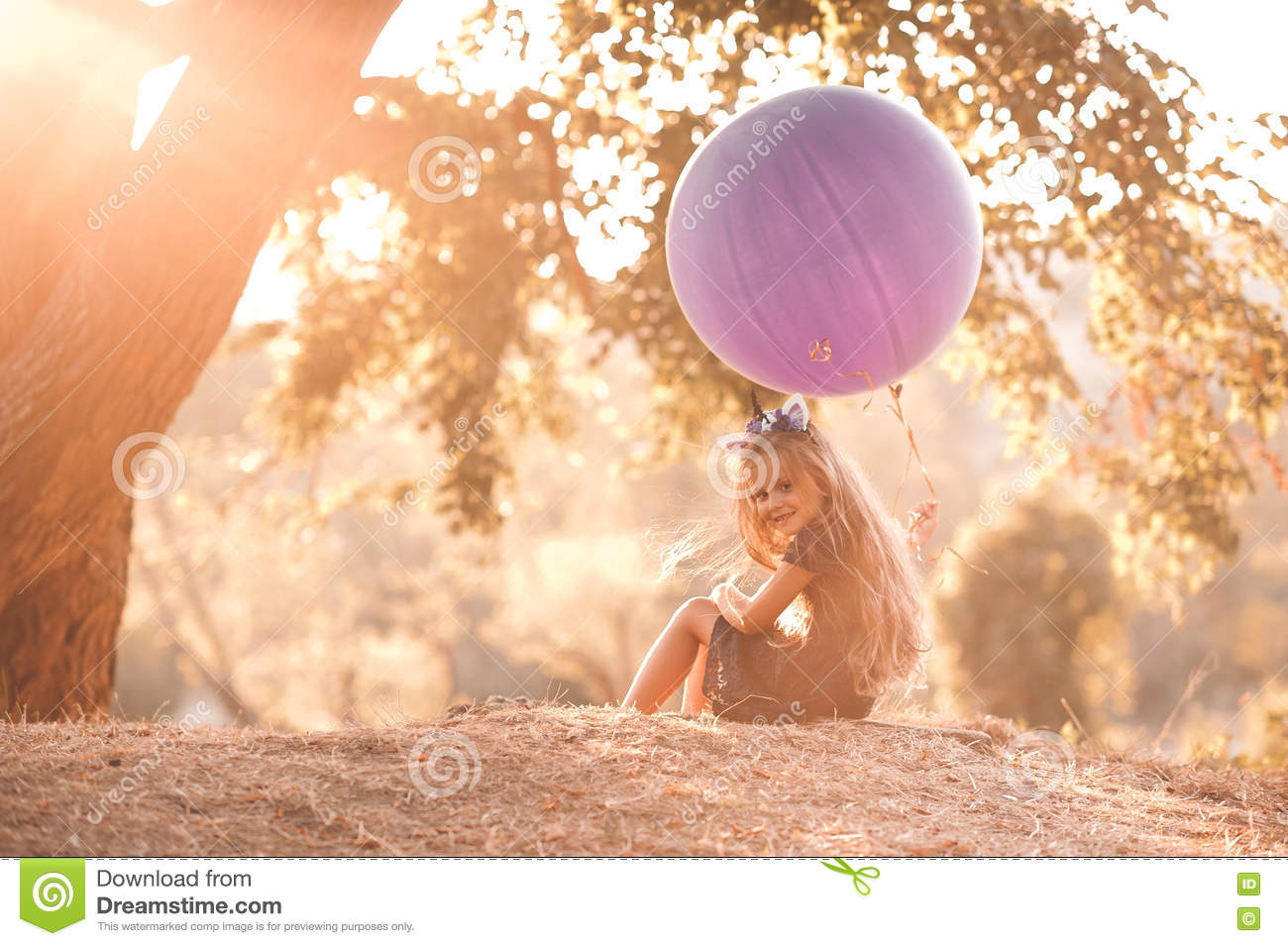 Smiling Baby Girl With Balloon Stock Image Image Of Cute Child