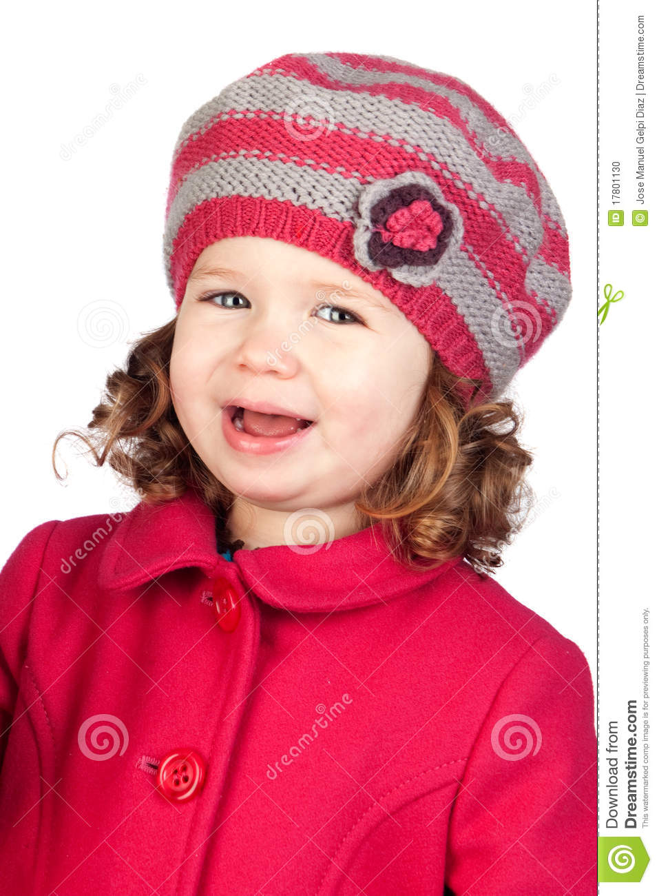 583e9ff28 Smiling Baby Girl With Wool Cap Stock Photo - Image of innocent ...