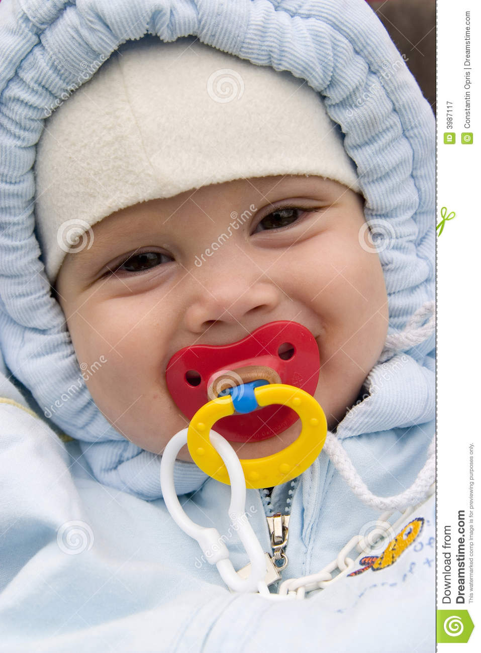 Smiling Baby With Pacifier Stock Image Image Of Pleasure