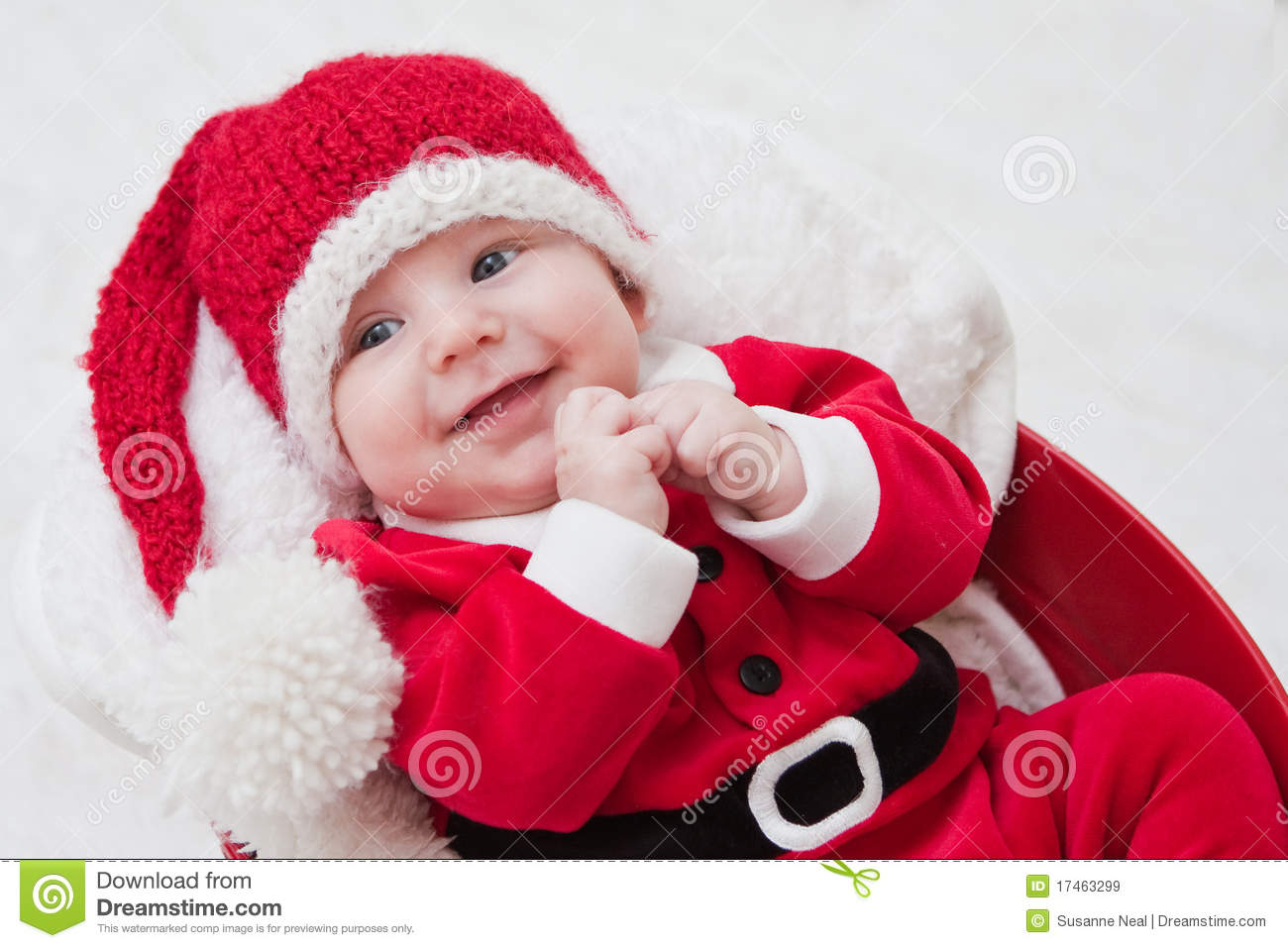 798df9cf7ab Smiling Baby In Santa Cap And Outfit Stock Image - Image of cute ...