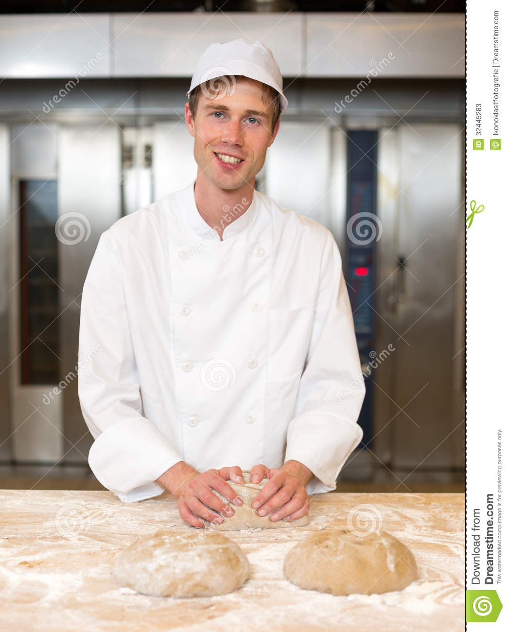 Smiling Baker Kneading Dough In Bakery Stock Photos - Image: 32445283