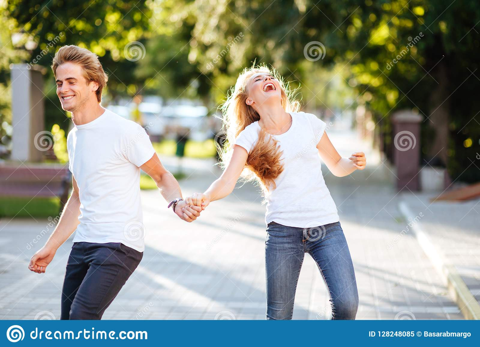 Smiling couple in park