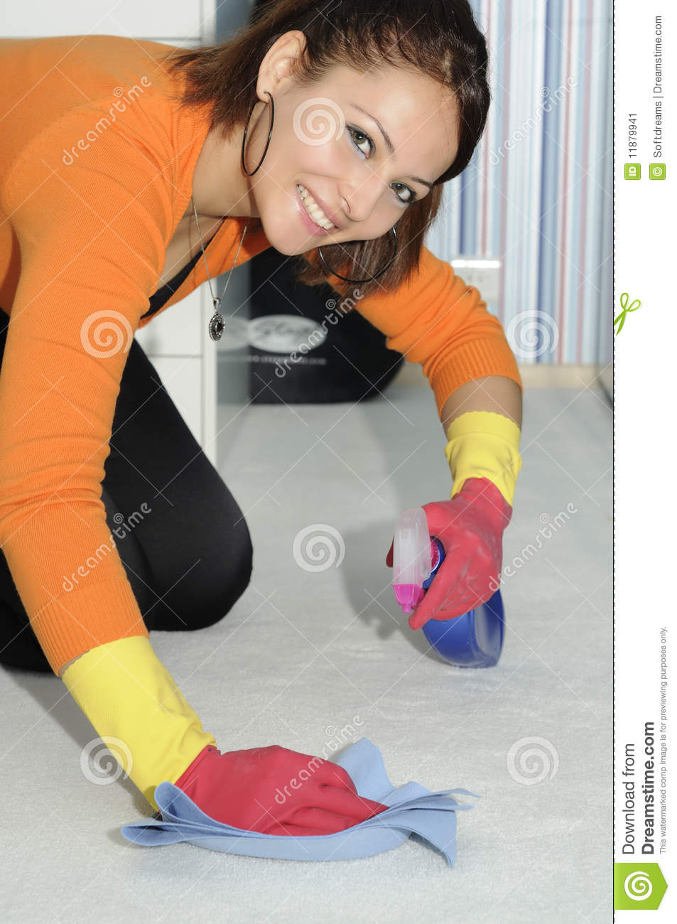 Smiling Beautiful Girl Cleaning The House Stock Image