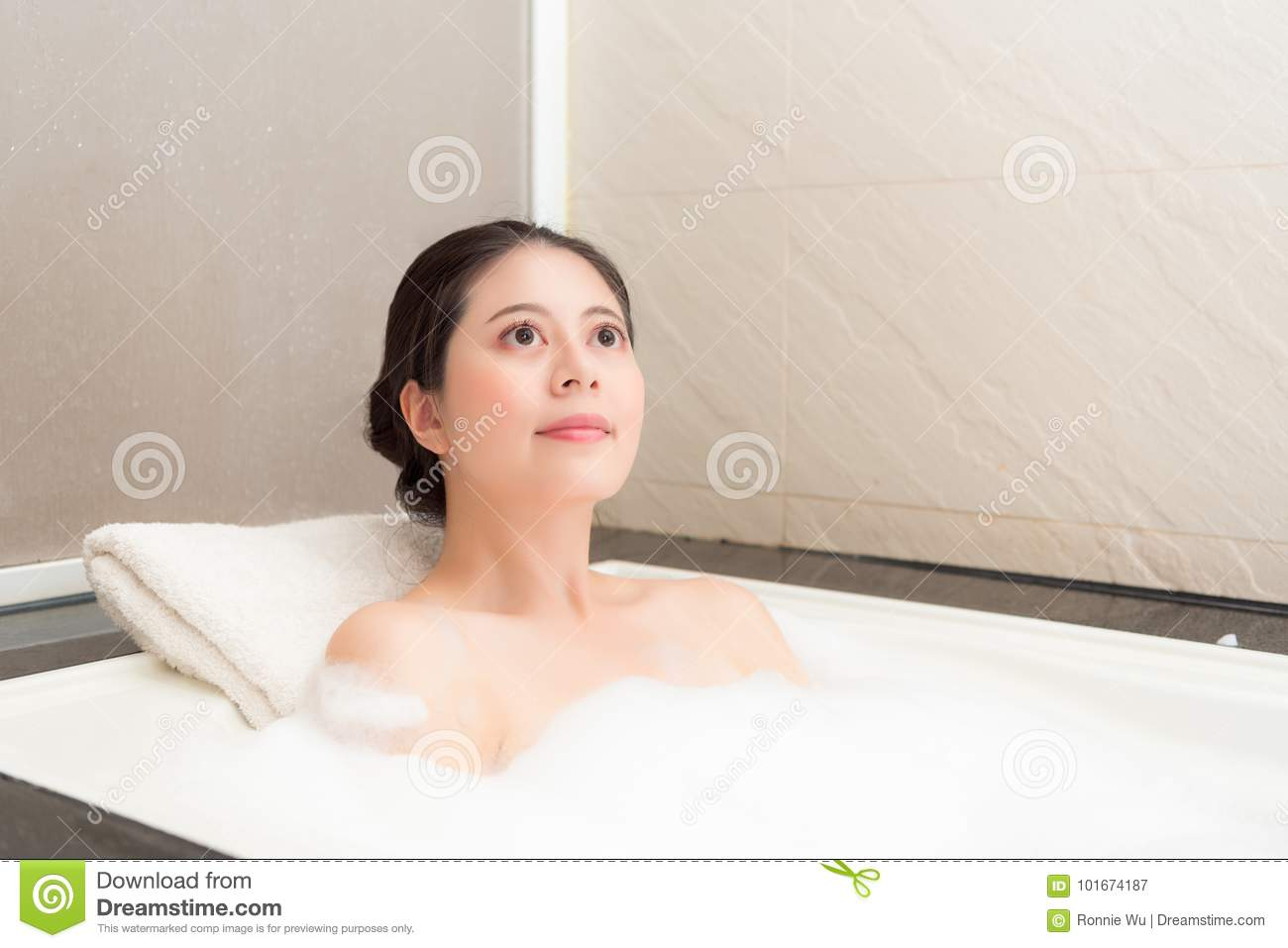 Smiling Beautiful Woman Relaxing In Bathtub Stock Image - Image of ...