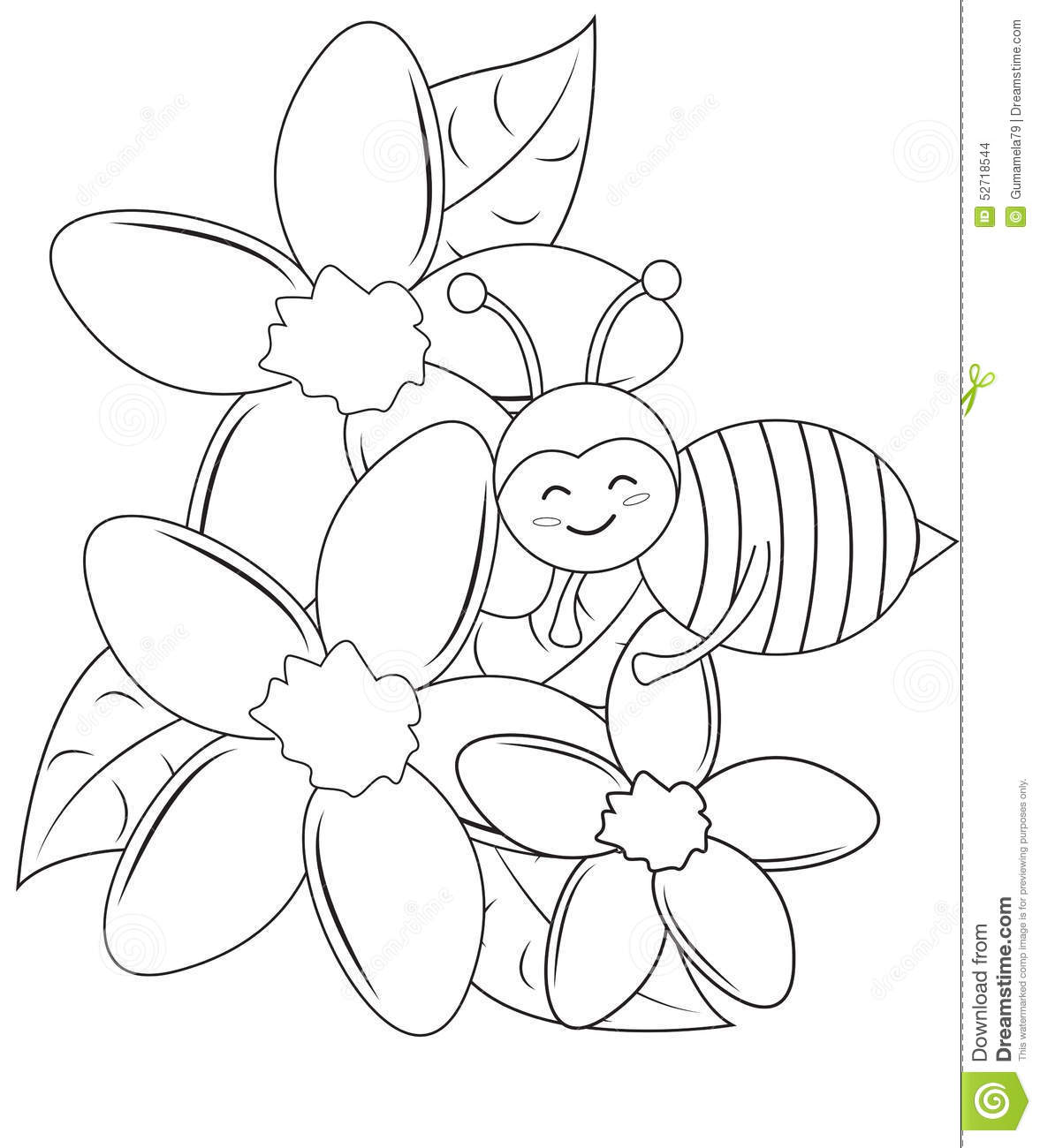 Smiling Bee With Flowers Coloring Page