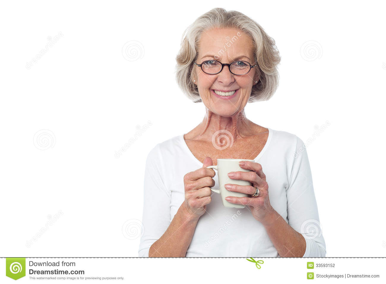 smiling bespectacled old lady drinking coffee stock photo - image of