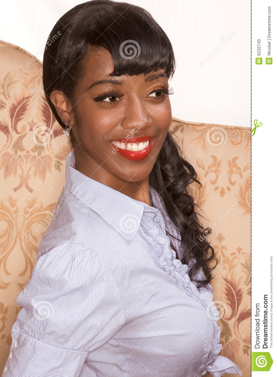Black Girls Killing It: Smiling Black Girl Portrait In Retro Style Stock Photo
