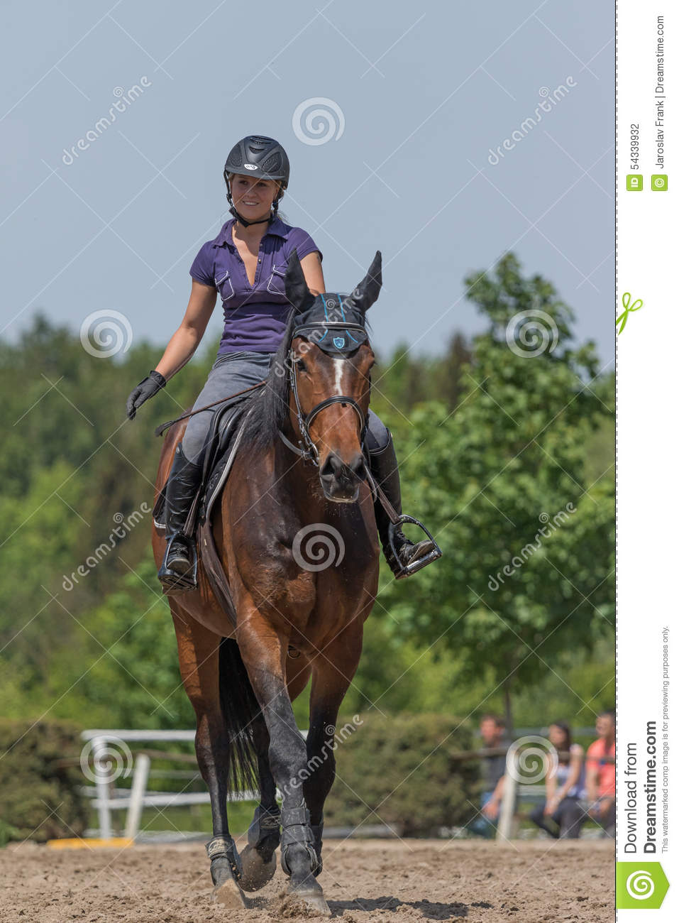 smiling blond horsewoman is riding a brown horse editorial Writer Clip Art Newspaper Clip Art