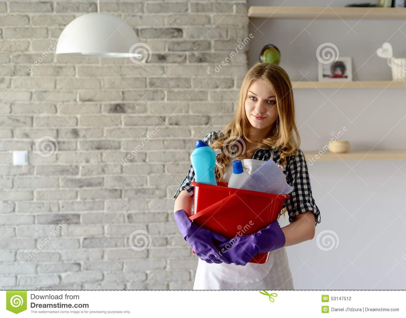 White gloves apron cleaning services - Smiling Blond Woman Holding A Bucket Full Of Cleaners