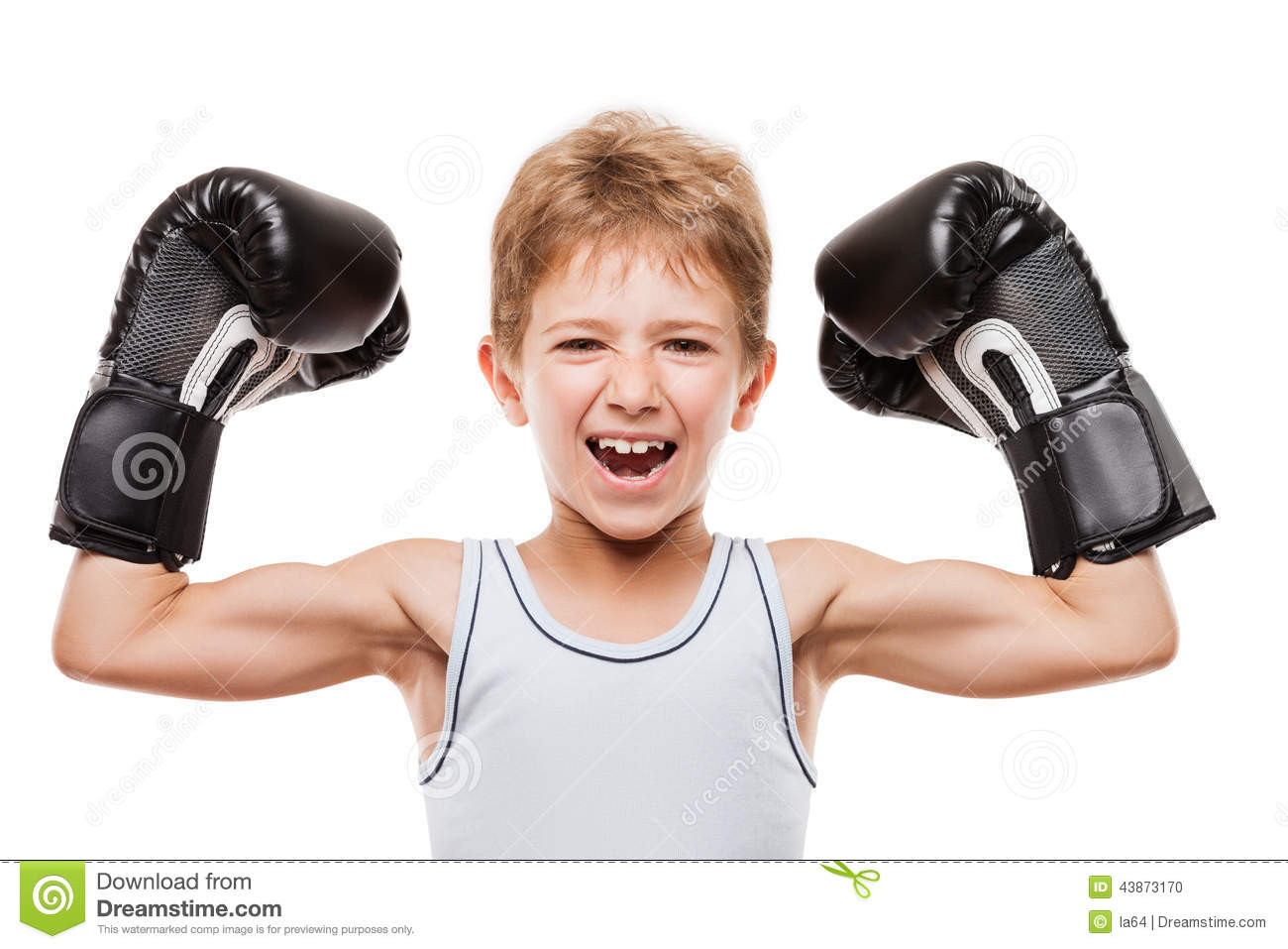 Smiling Boxing Champion Boy Gesturing For Victory Triumph Stock Photo ...