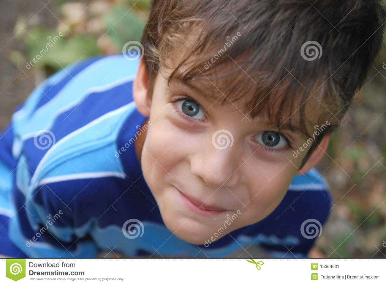 Smiling Boy 7 Years Old Looking At You Stock Image