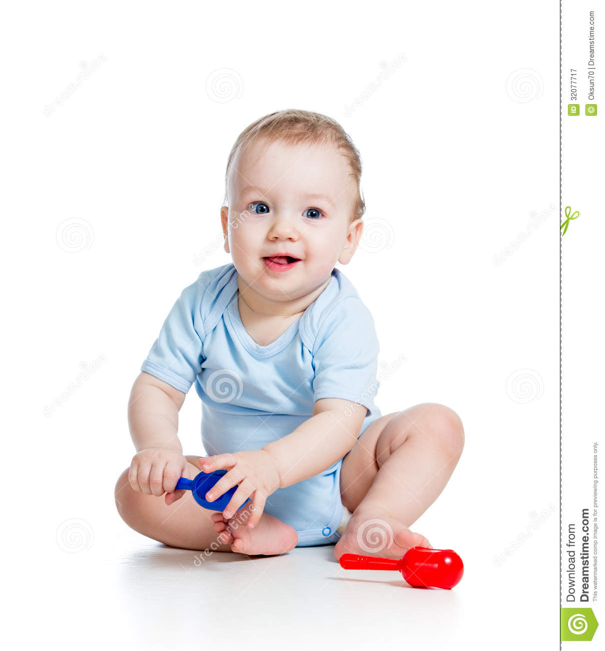 Boy Toys Baby : Smiling boy baby playing royalty free stock photography