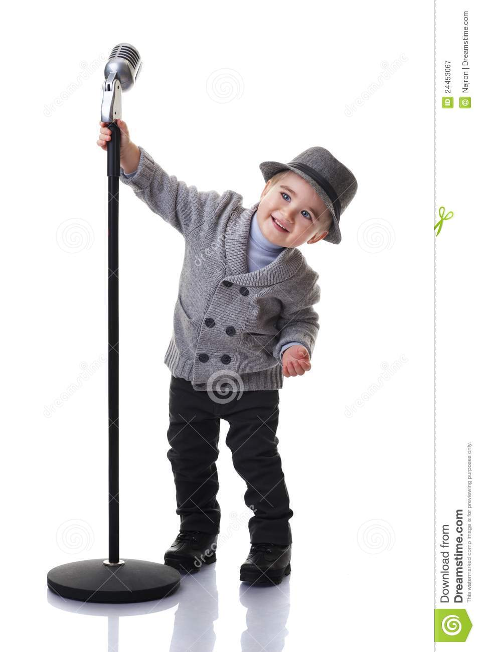 Smiling Boy Holding A Microphone Stand Royalty Free Stock ... Positive Space Photography