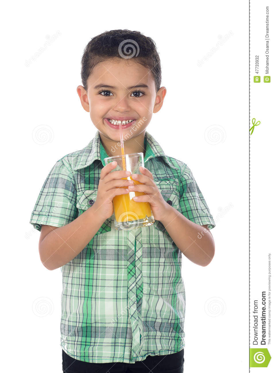 Smiling Boy With Juice
