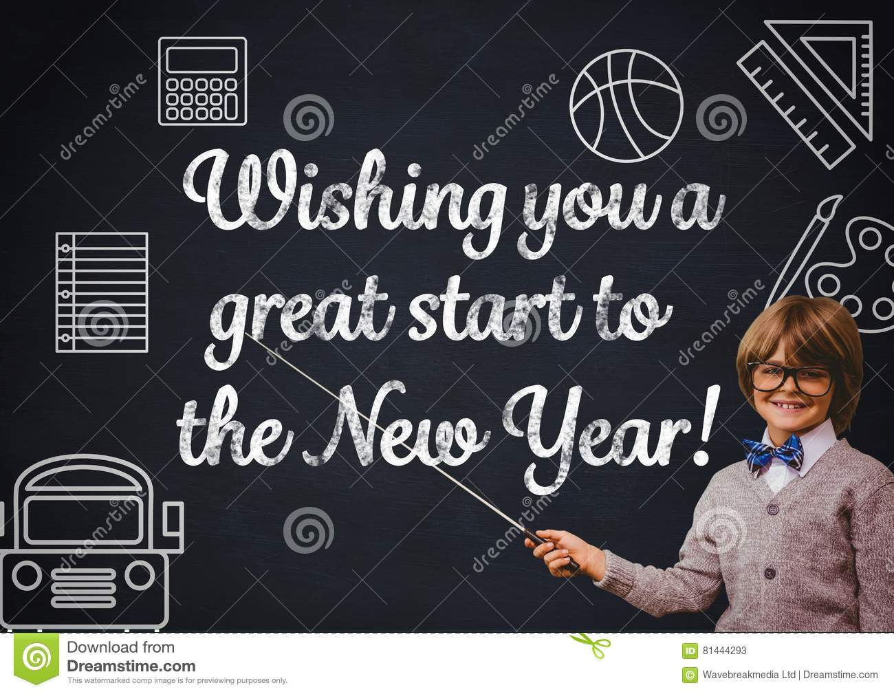 smiling boy pointing at blackboard new year greeting quotes