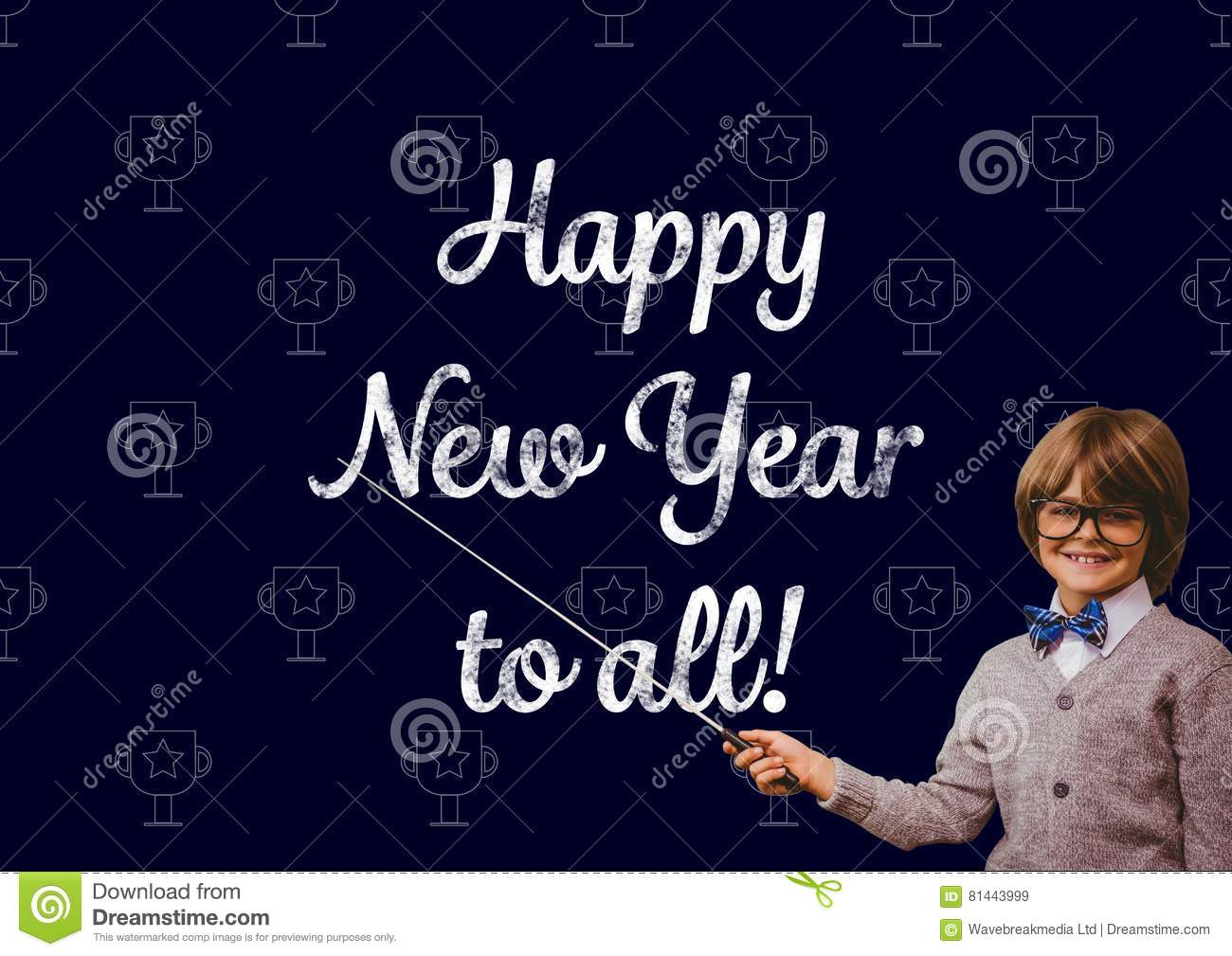 Smiling Boy Pointing With Stick At New Year Greeting Quotes Stock