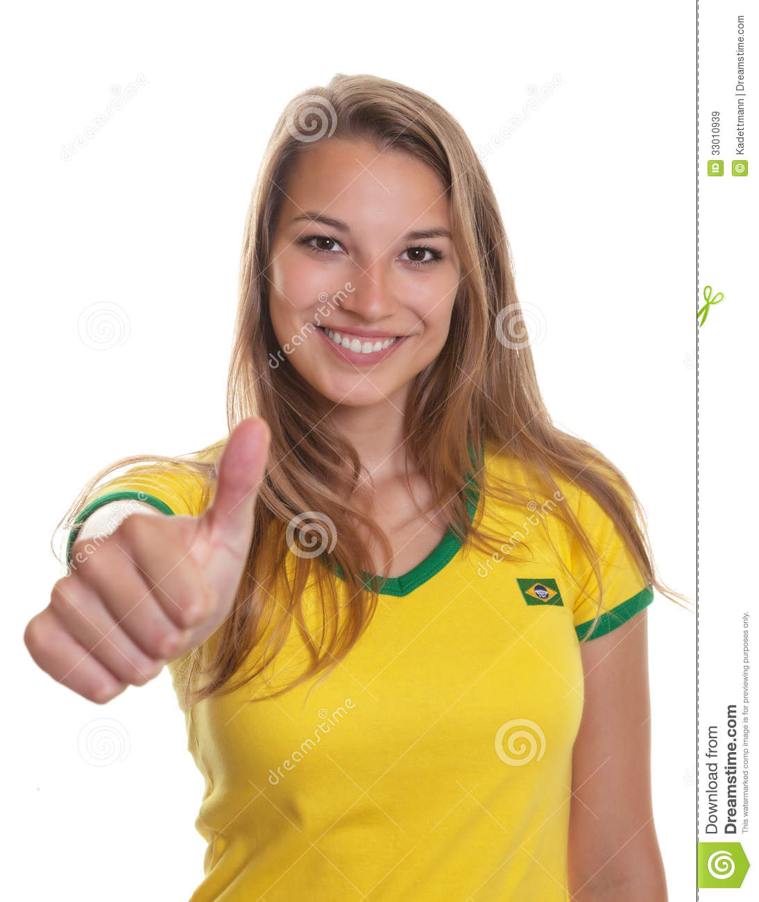 Smiling Brazilian Soccer Supporter Showing Thump Up Royalty Free Stock ...