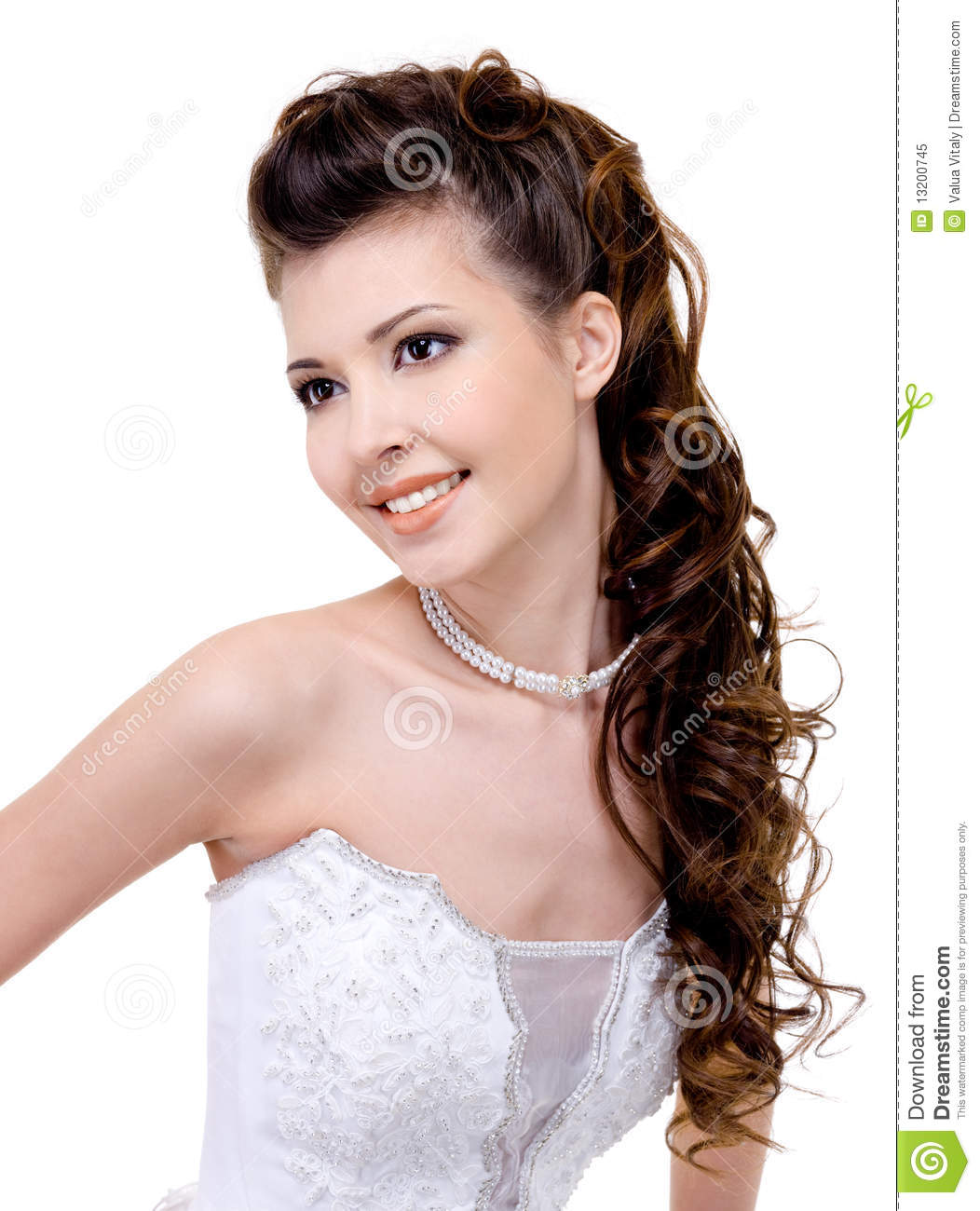 Smiling Bride With Curly Wedding Hairstyle Stock Image - Image of ...
