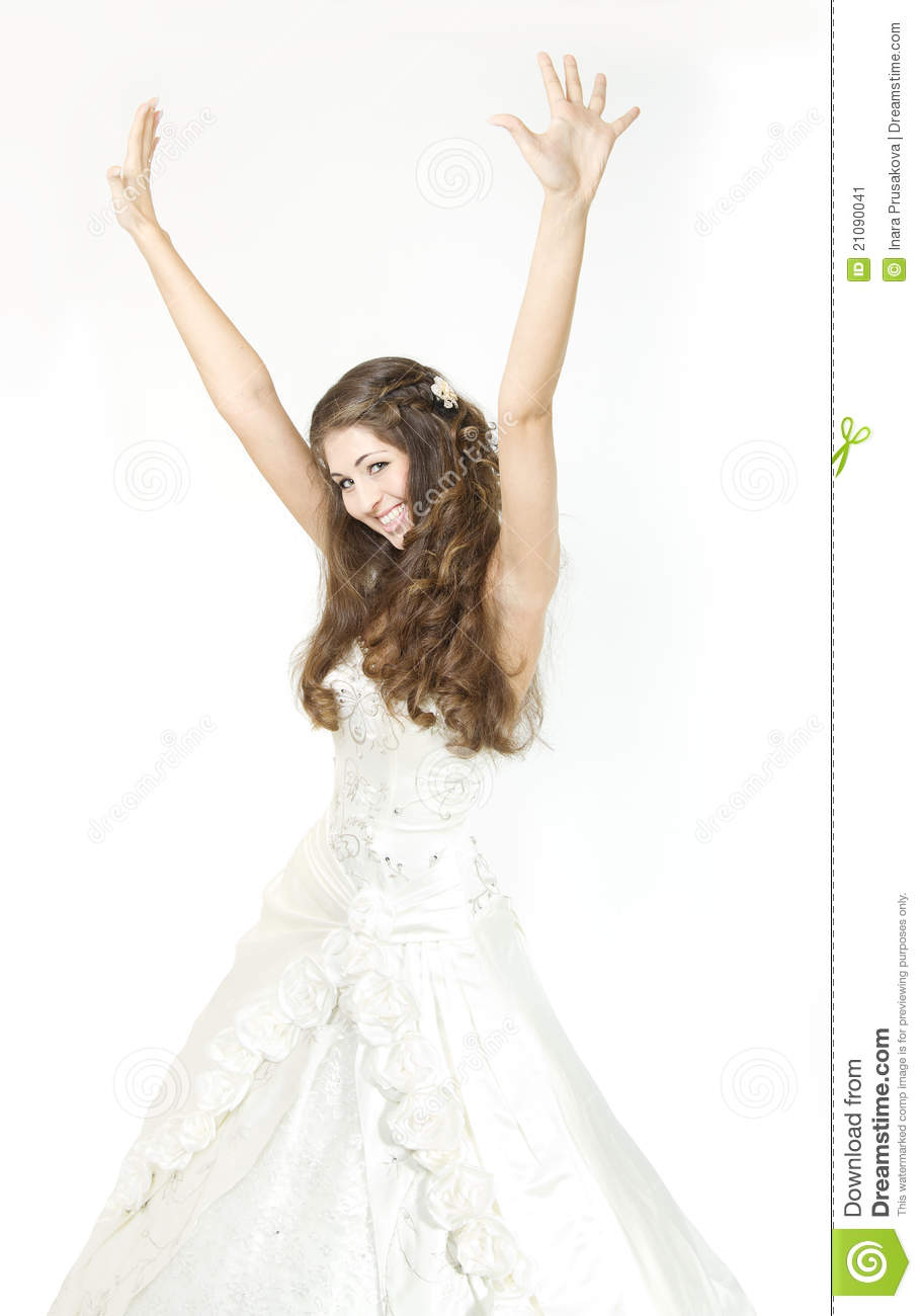 Smiling Bride Raised Hands Up And Happy Smiling Stock