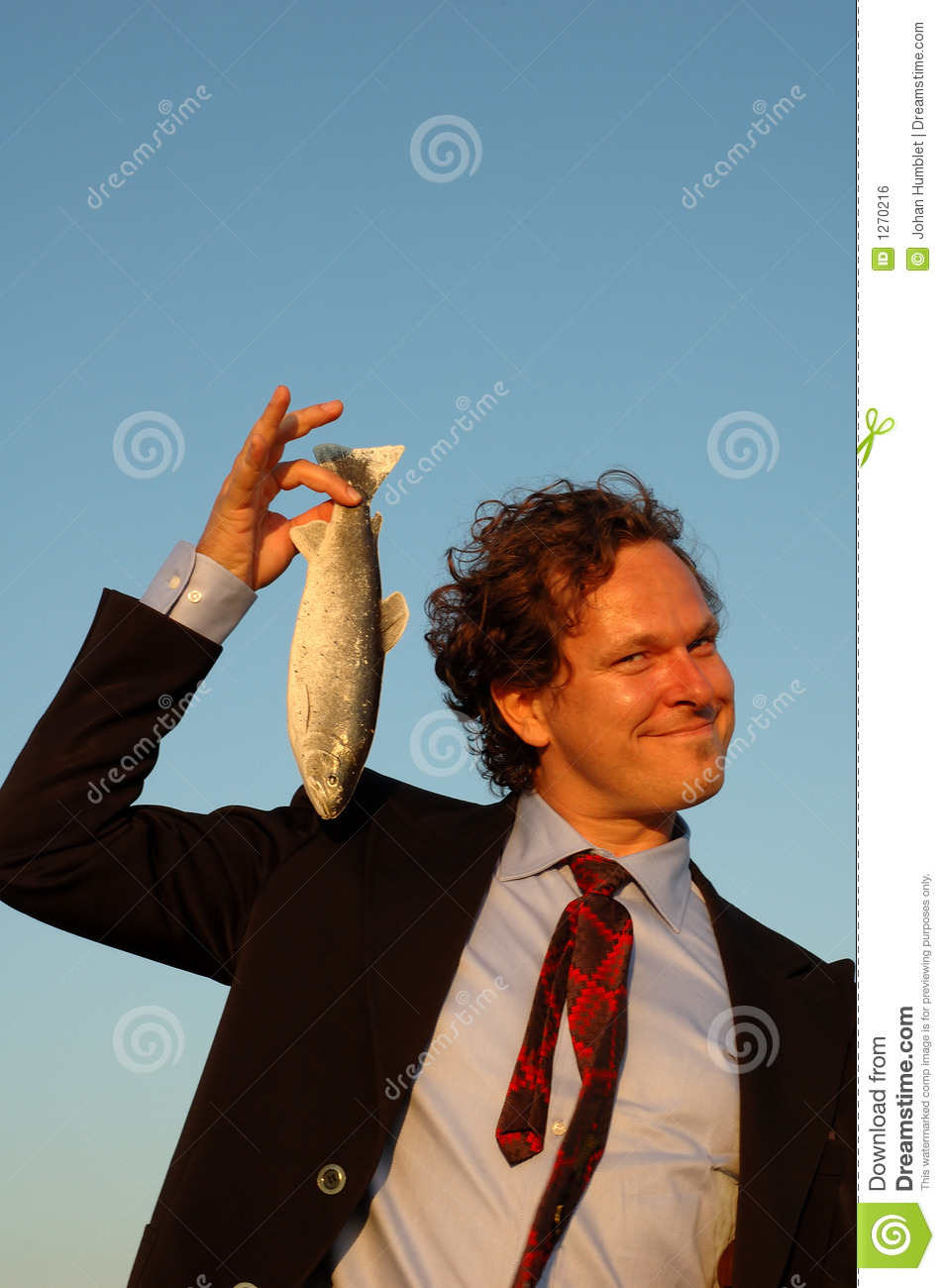 Credit Cards For Bad Credit >> Smiling Business Man Holding A Fish Royalty Free Stock ...