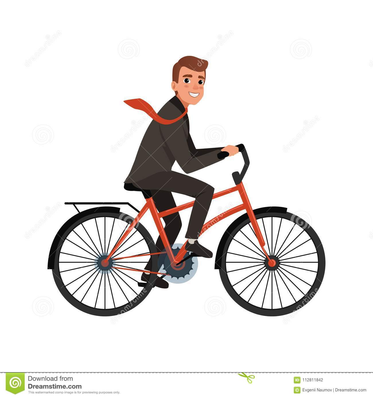 Smiling business man riding bicycle to work. Eco-friendly transportation. Cartoon character of young office worker in
